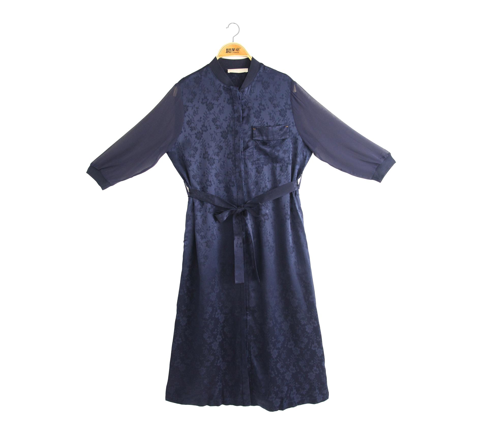闕蘭絹高貴印花蠶絲綁帶雪紡洋裝 - 藍色 - 6021