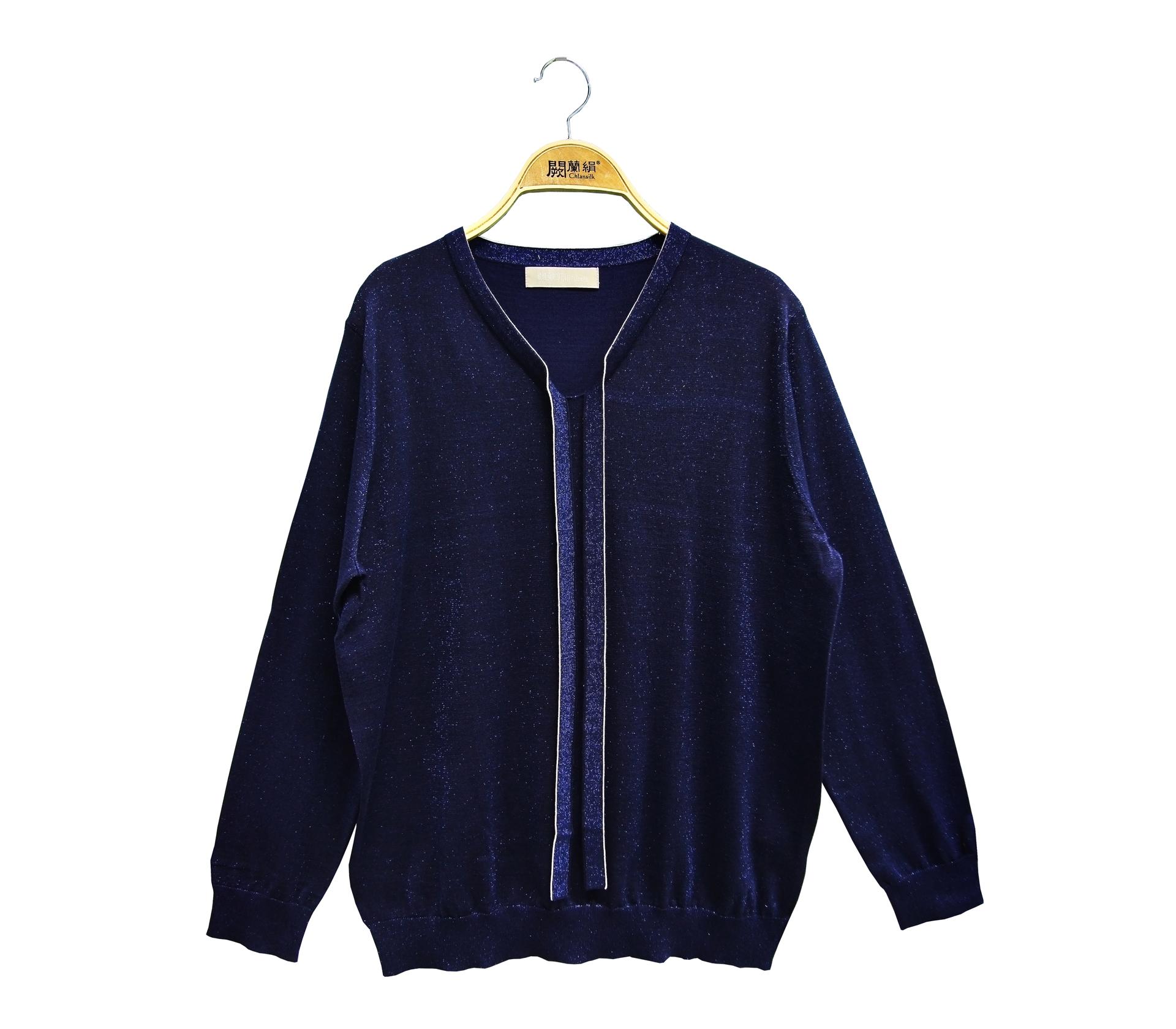 闕蘭絹閃亮奢華綁帶針織蠶絲長袖上衣 - 藍色 - 6029
