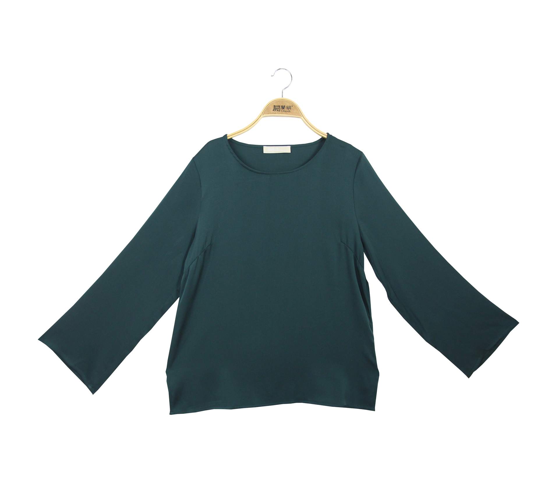 闕蘭絹氣質典雅緞面蠶絲長袖上衣 - 綠色 - 6032