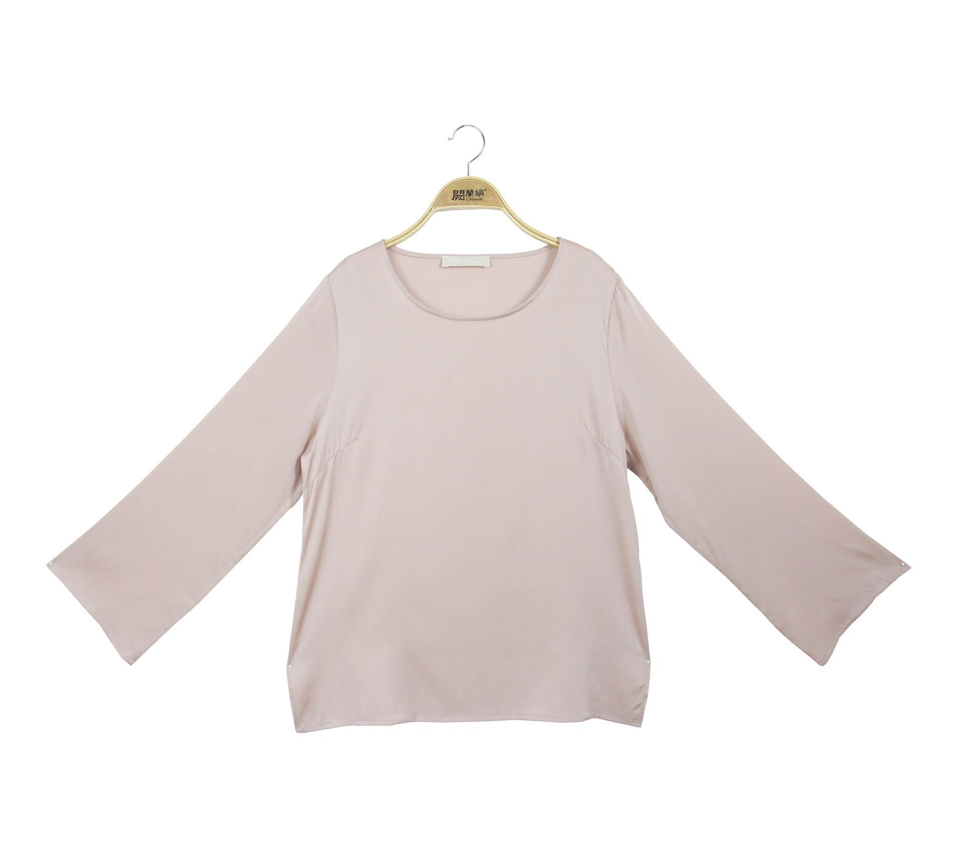 闕蘭絹氣質典雅緞面蠶絲長袖上衣 - 玫瑰金色 - 6032