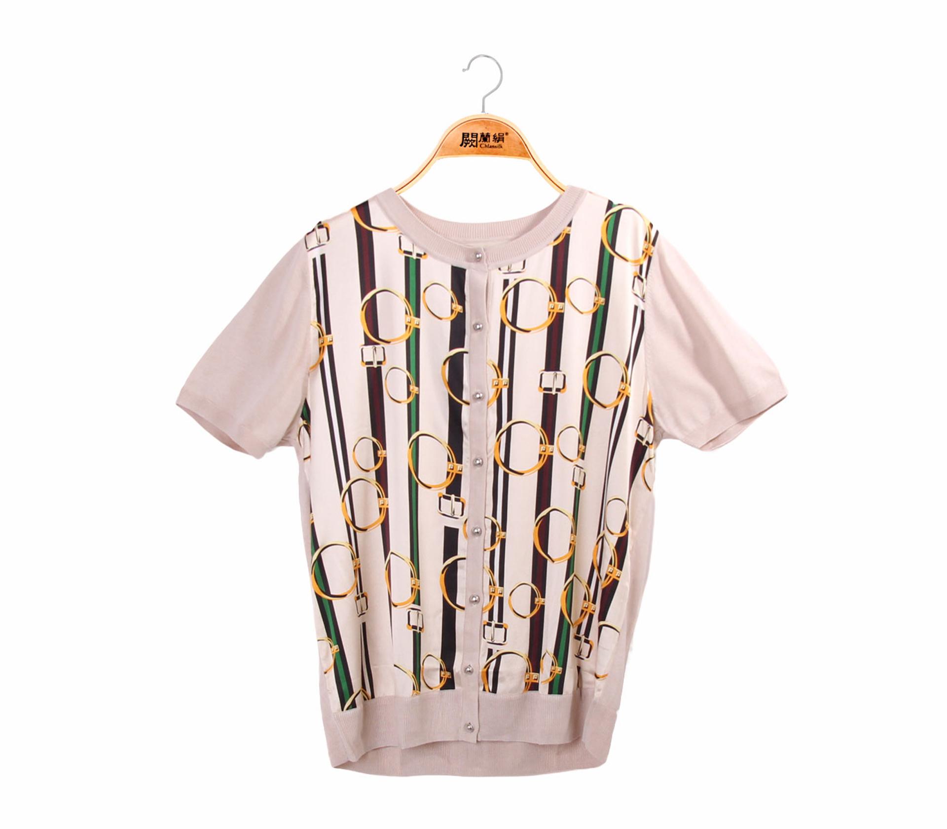 拼接滑布圈圈米色蠶絲針織外套-6328-1
