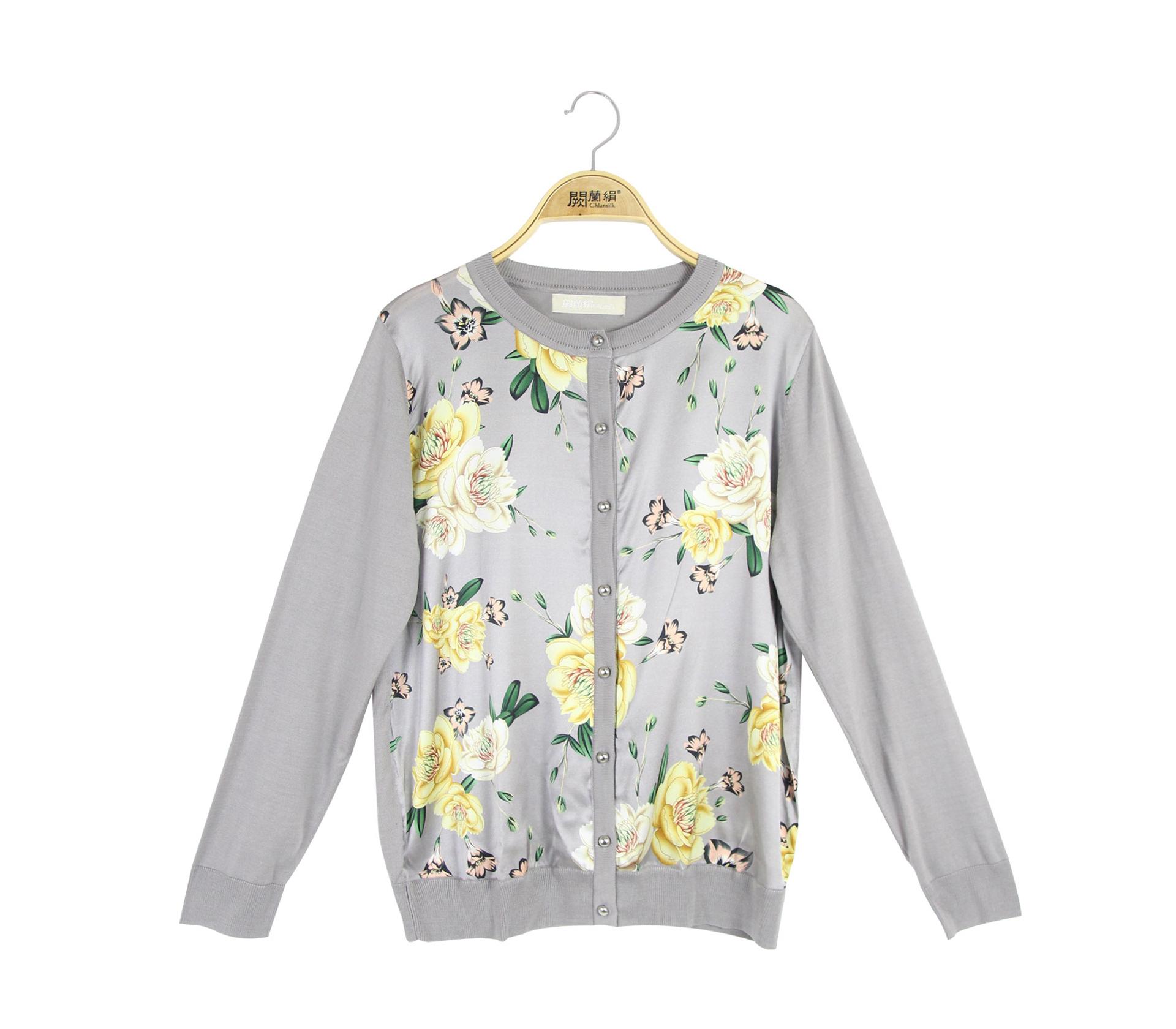 闕蘭絹拼接滑布鎖鏈花朵蠶絲針織長袖外套 - 灰色 - 6328
