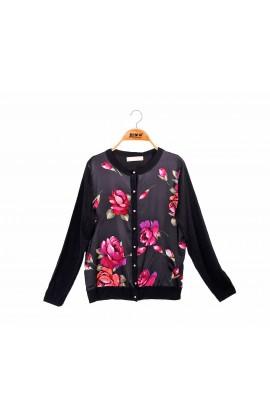拼接滑布奢華玫瑰蠶絲針織外套-6401