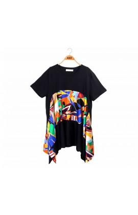 修身感幾何圖形傘狀黑色針織上衣-6402