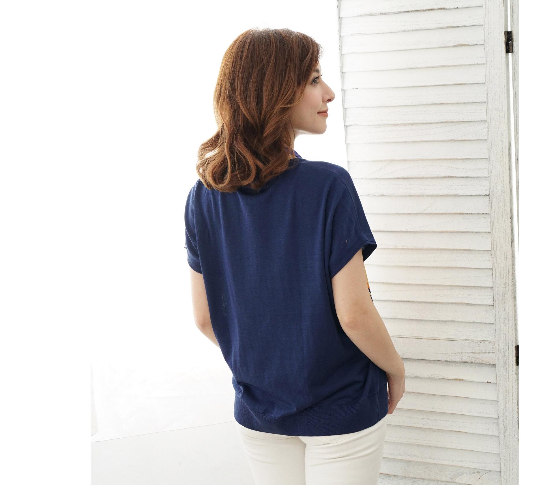 典雅女人幾何圖形藍色針織上衣-6403