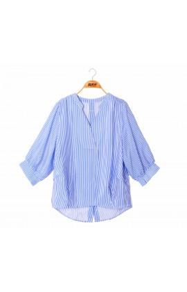 闕蘭絹經典款V領直紋100%蠶絲上衣 – 藍-6405