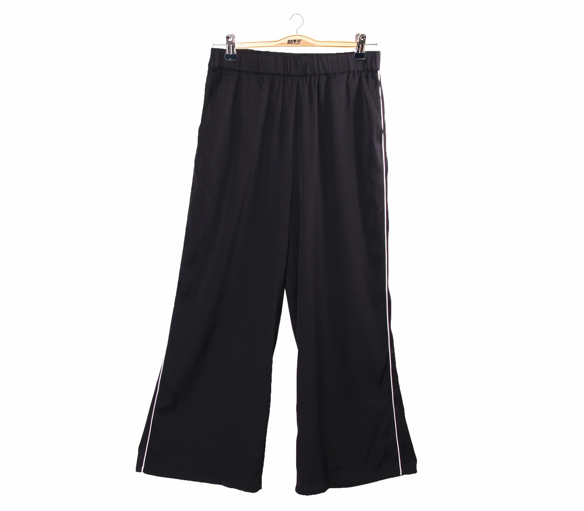 闕蘭絹經典不敗黑色修身蠶絲寬褲-6406(黑)