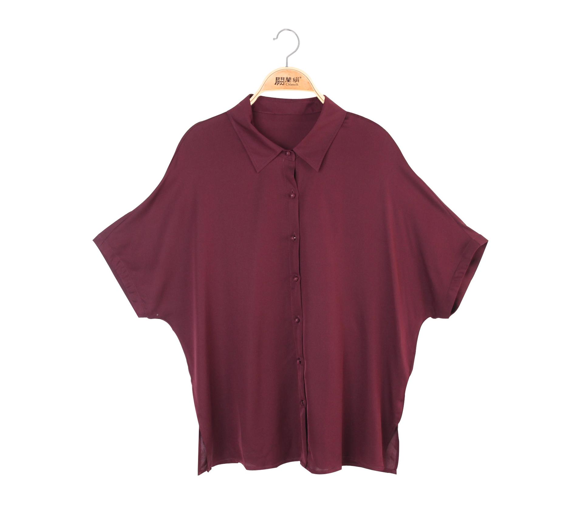 闕蘭絹優雅知性雪紡短袖襯衫蠶絲上衣 – 紫 -6416