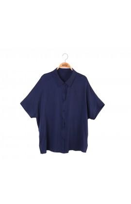 闕蘭絹優雅知性雪紡短袖襯衫100%蠶絲上衣 – 藍-6416