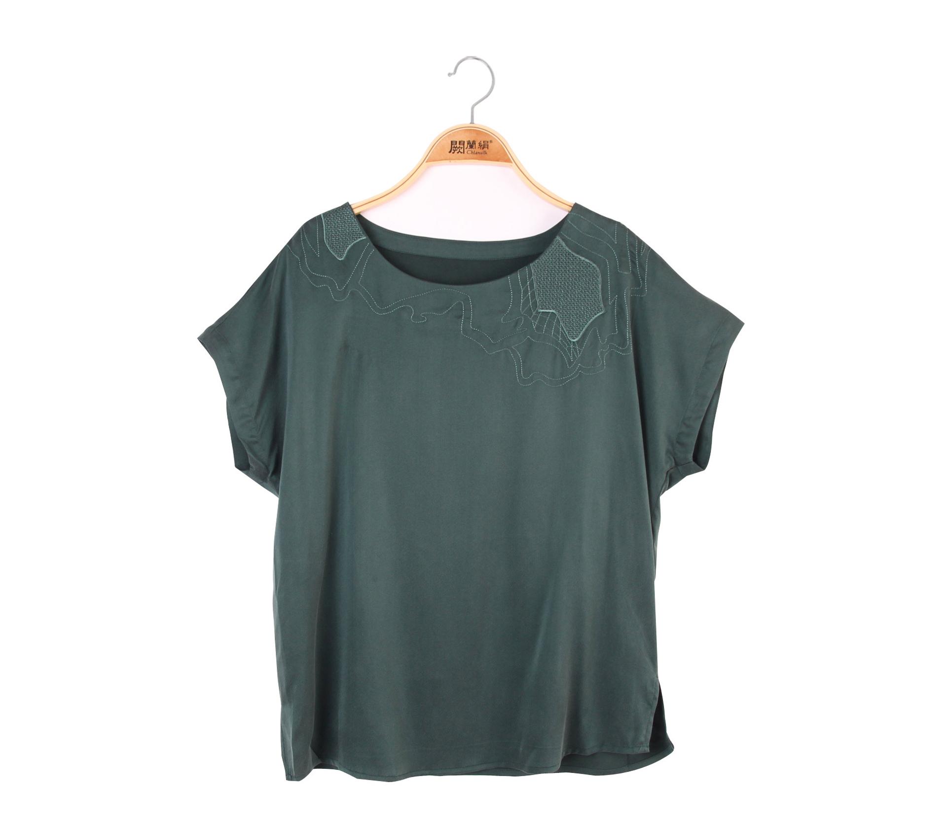 闕蘭絹極簡風蠶絲上衣 – 綠 -6417