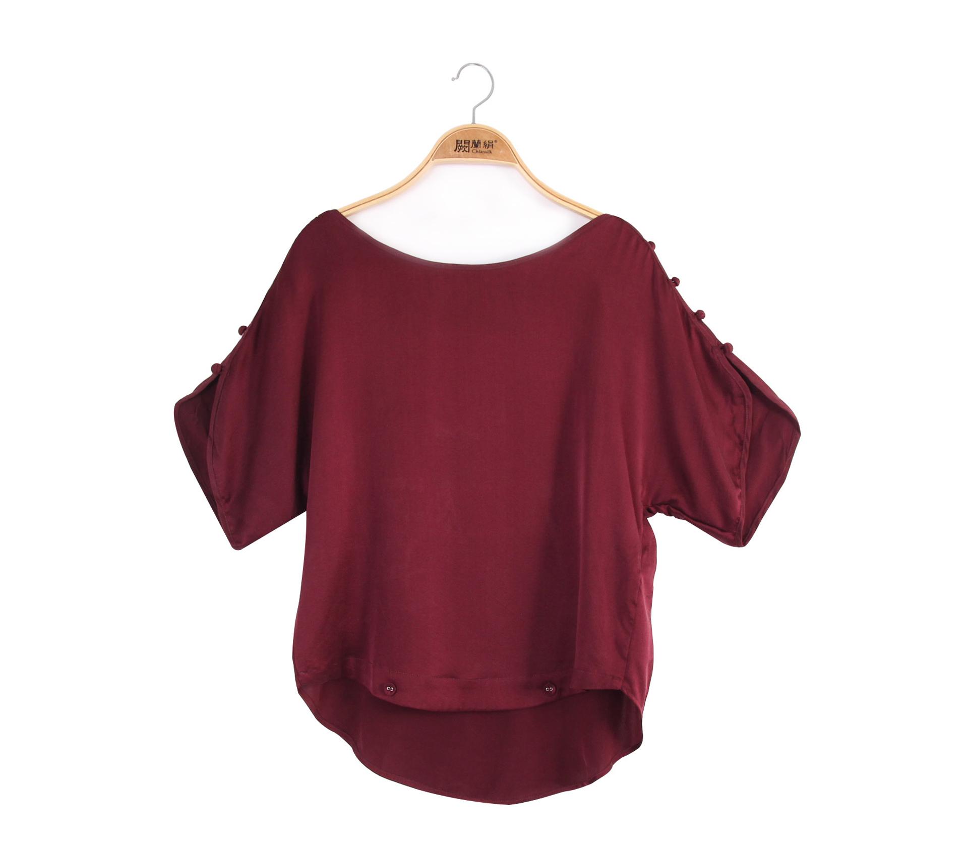 闕蘭絹設計感酒紅色肩釦造型蠶絲上衣 - 6420
