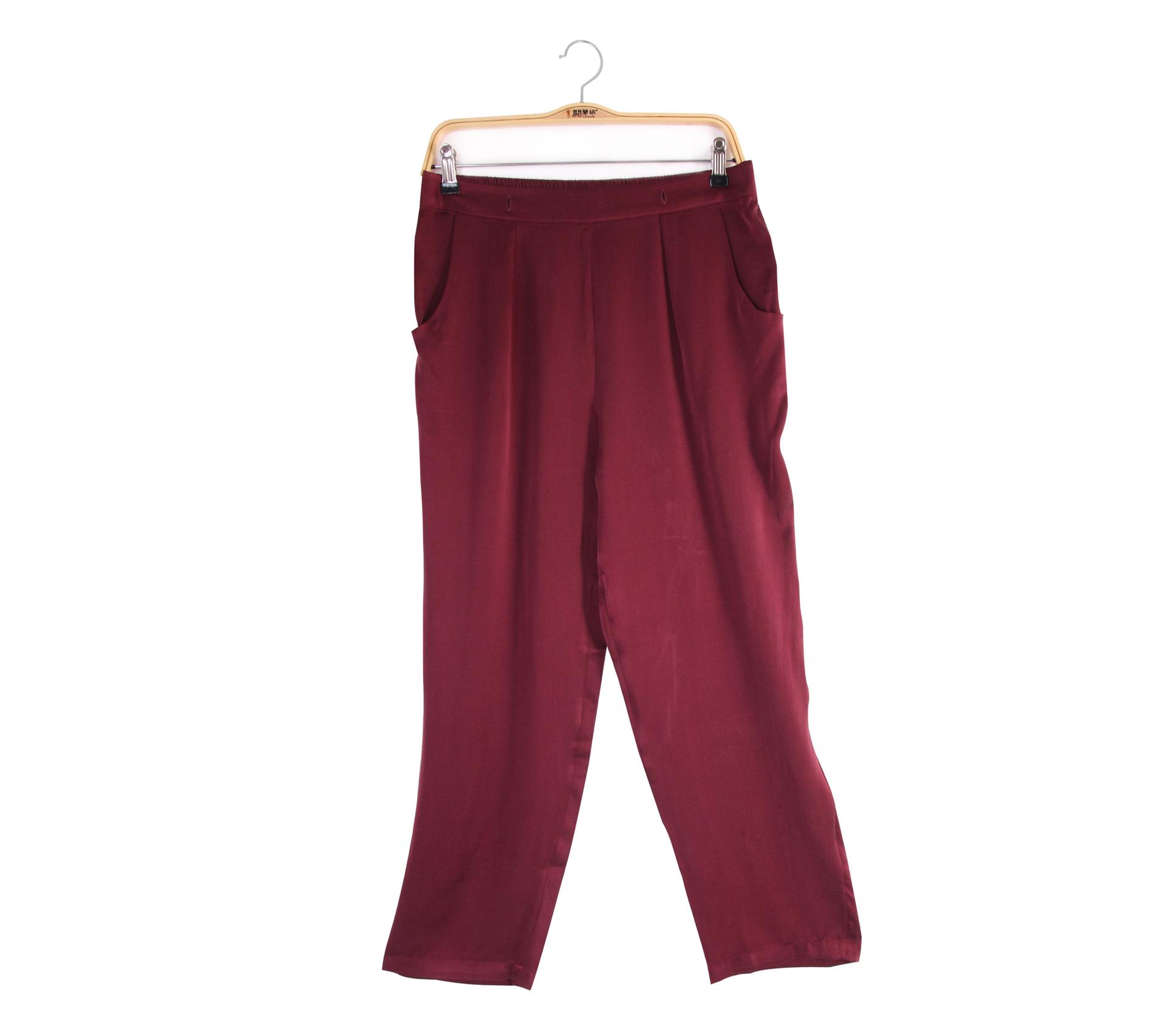 闕蘭絹設計感酒紅色蠶絲褲 - 6420