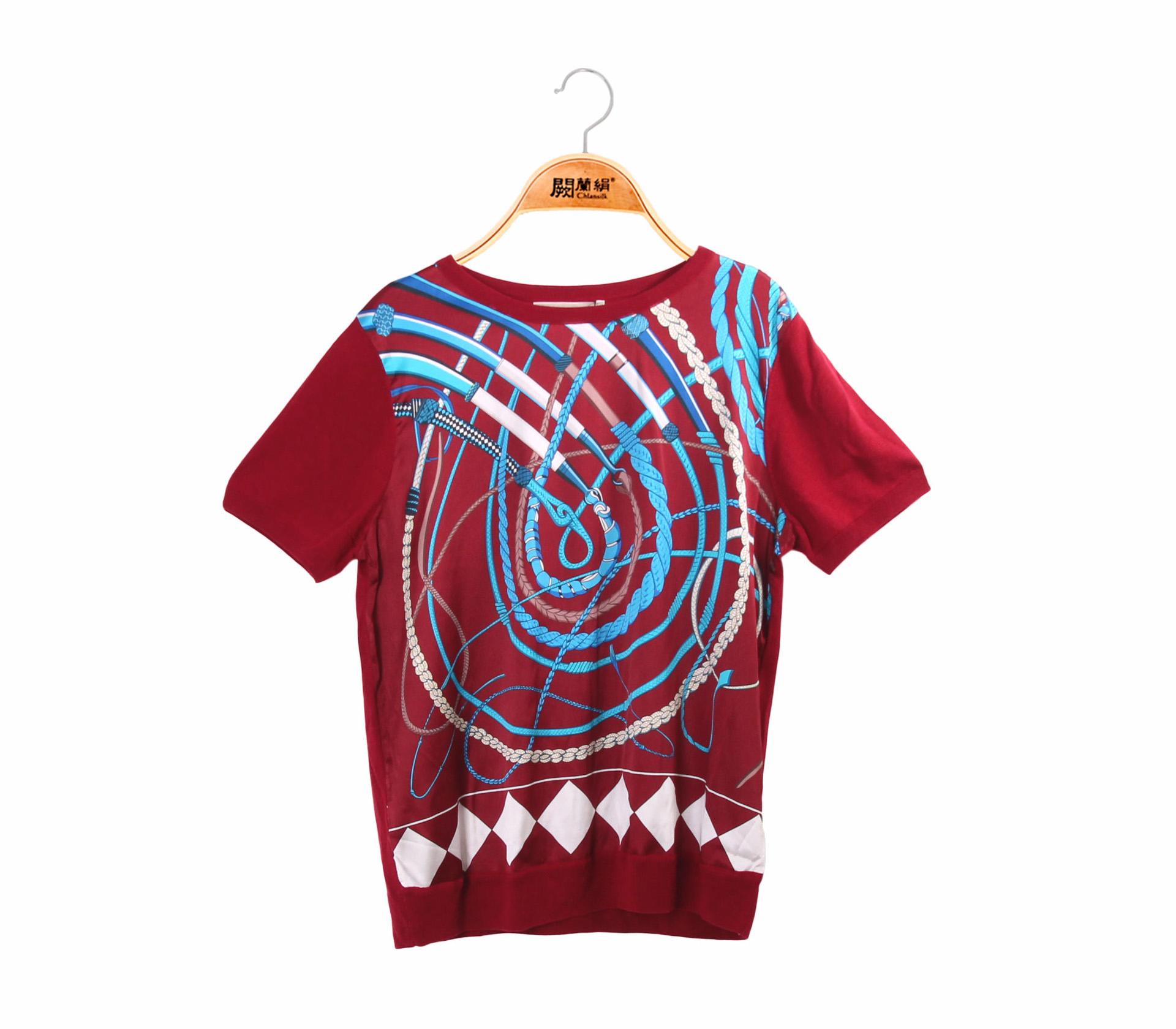 拼接滑布鎖鏈蠶絲針織短袖上衣 –酒紅-6541
