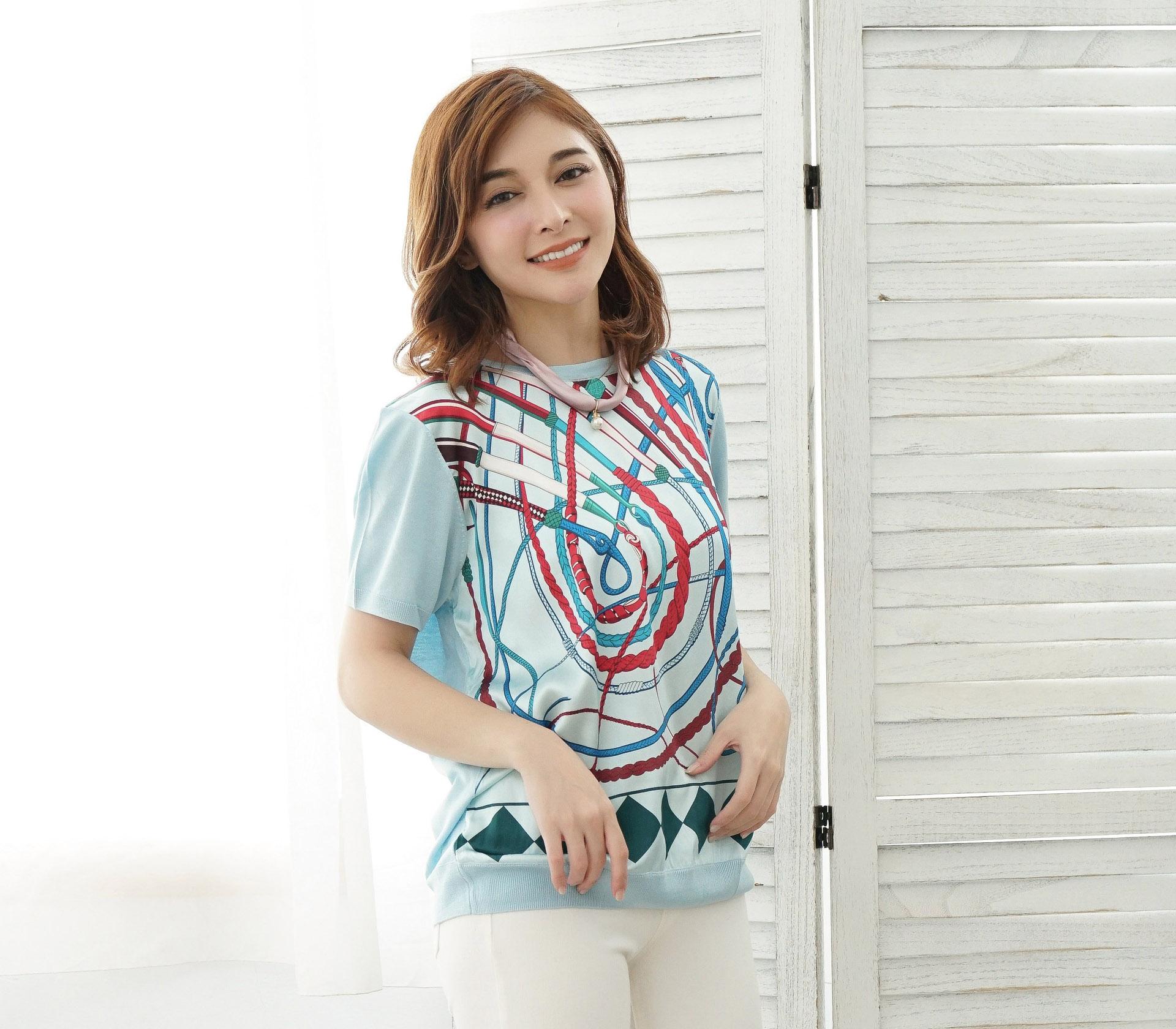 拼接滑布鎖鏈蠶絲針織短袖上衣 – 藍-6541