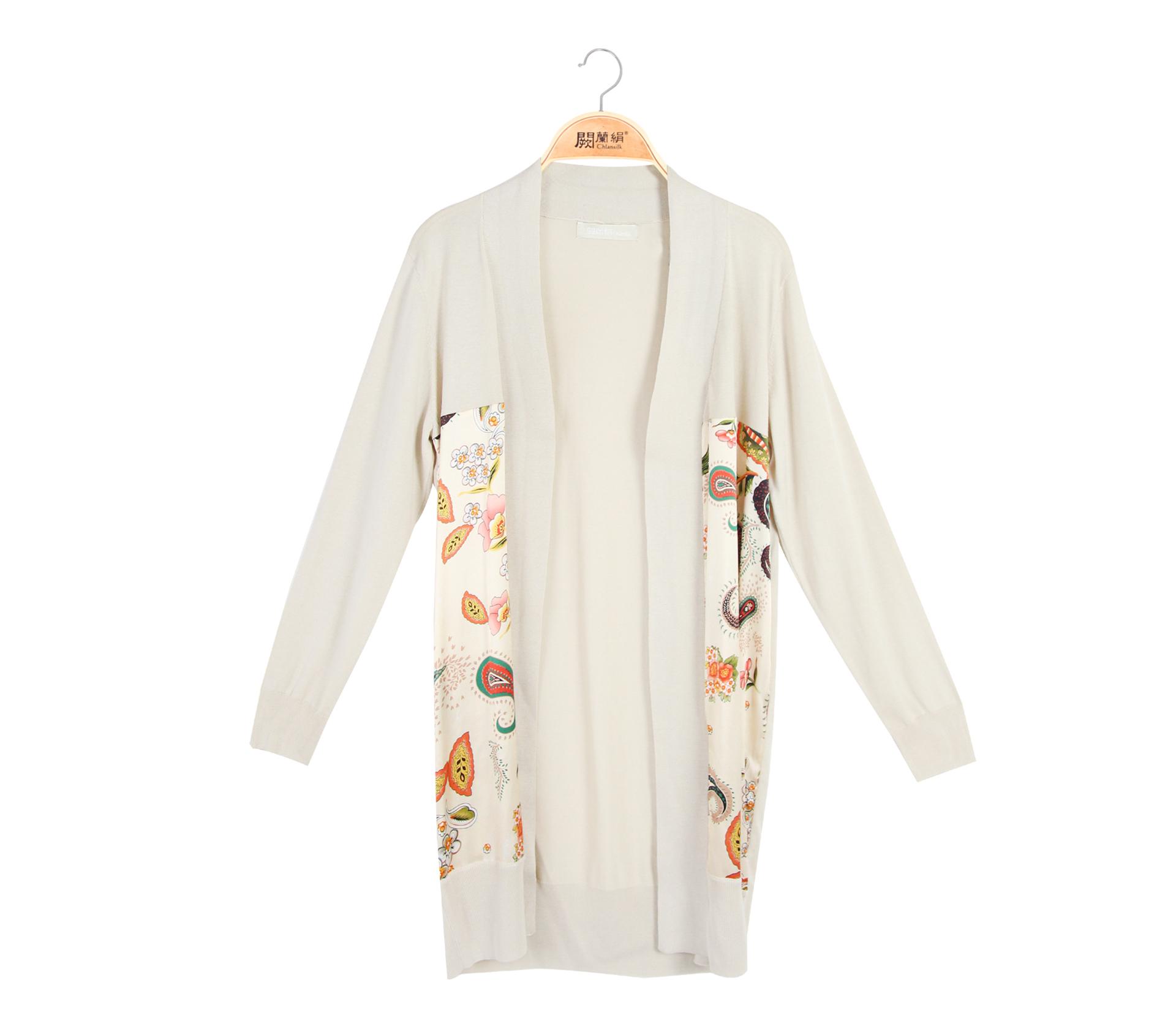 闕蘭絹典雅美人拼接滑布花朵蠶絲針織長版罩衫 - 米色 - 6550