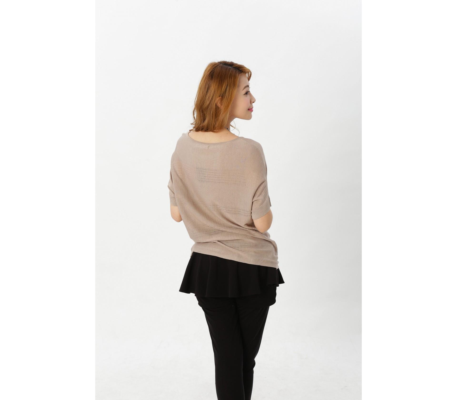 闕蘭絹簡約舒適100%蠶絲上衣-609(卡其)