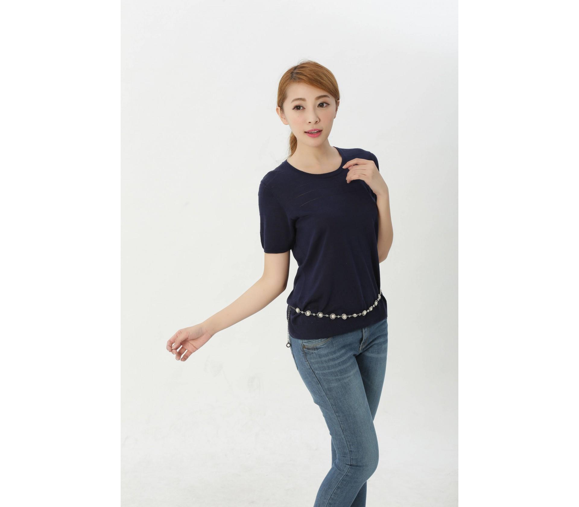 闕蘭絹品味風格顯瘦純蠶絲上衣(深藍)-610