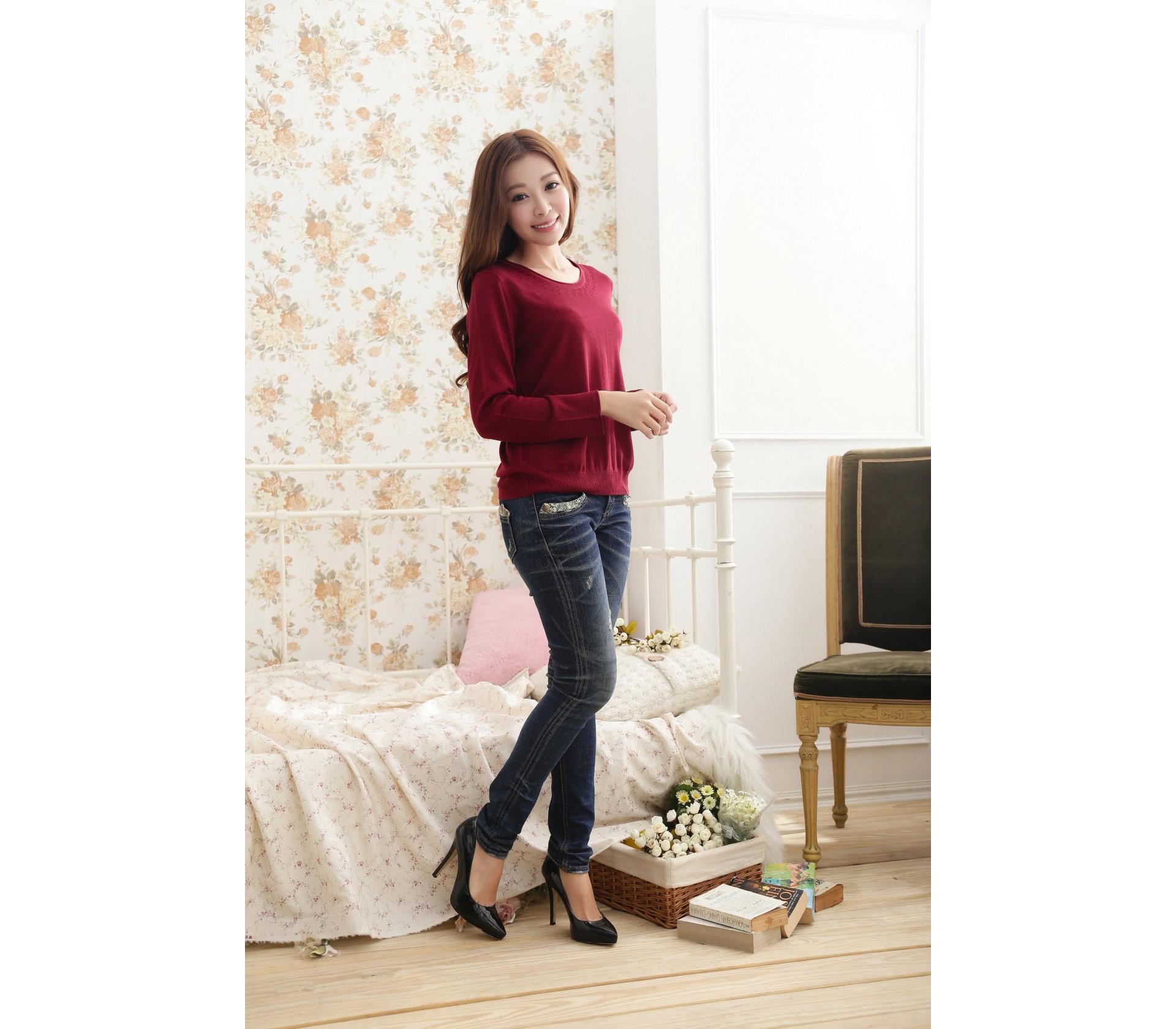 闕蘭絹舒適感100%蠶絲針織上衣-611(暗紅)
