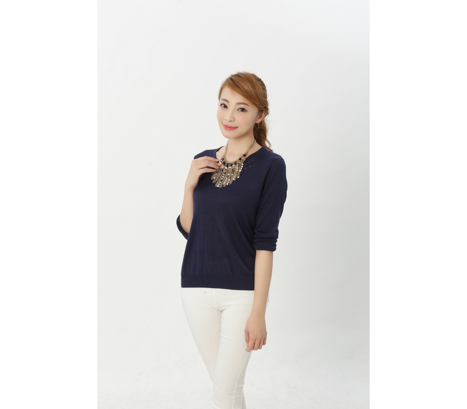 闕蘭絹舒適感100%蠶絲針織上衣-611(藍)