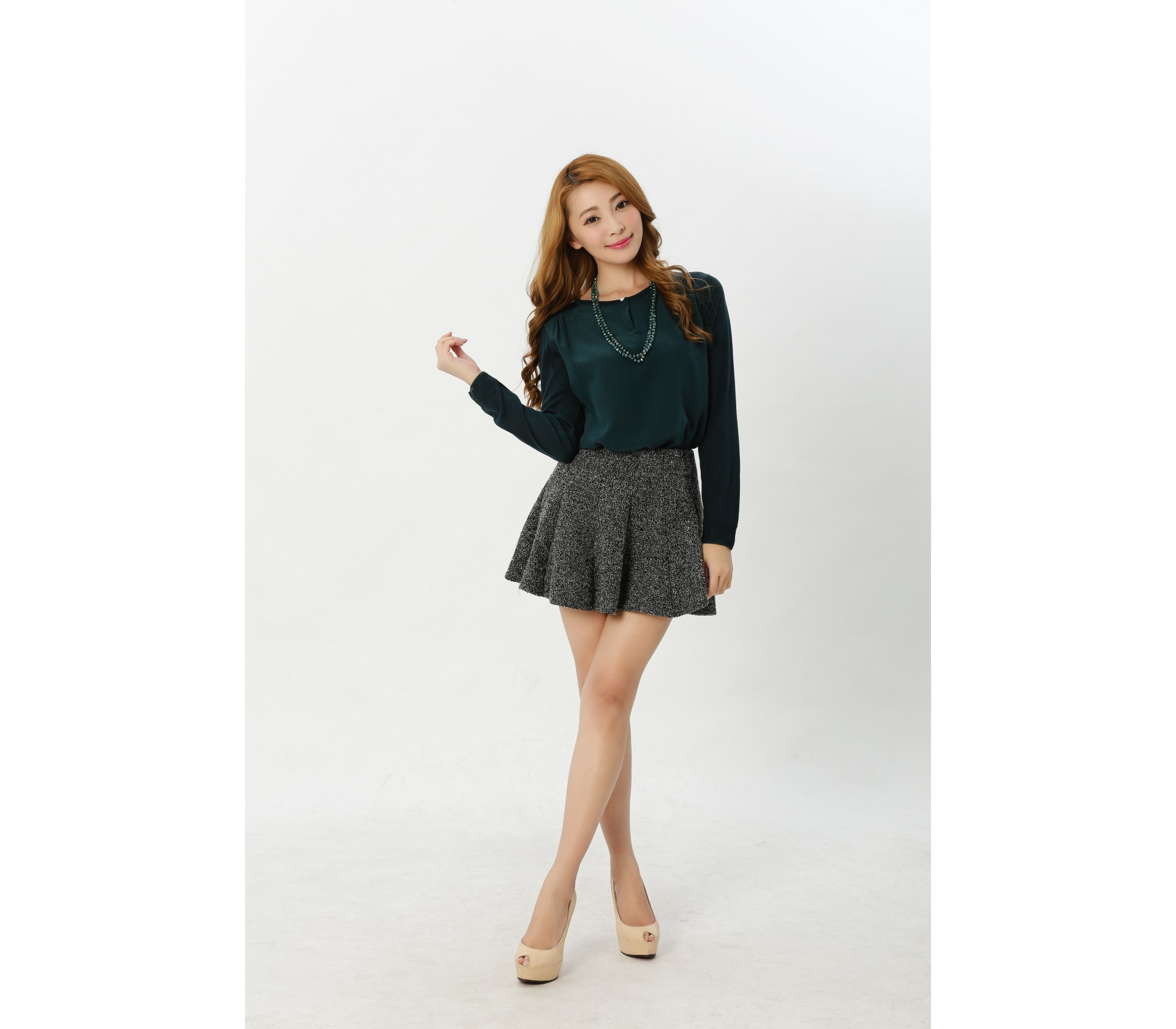 闕蘭絹精緻典雅100%蠶絲前釦造型拼接雪紡針織上衣-614(墨綠)