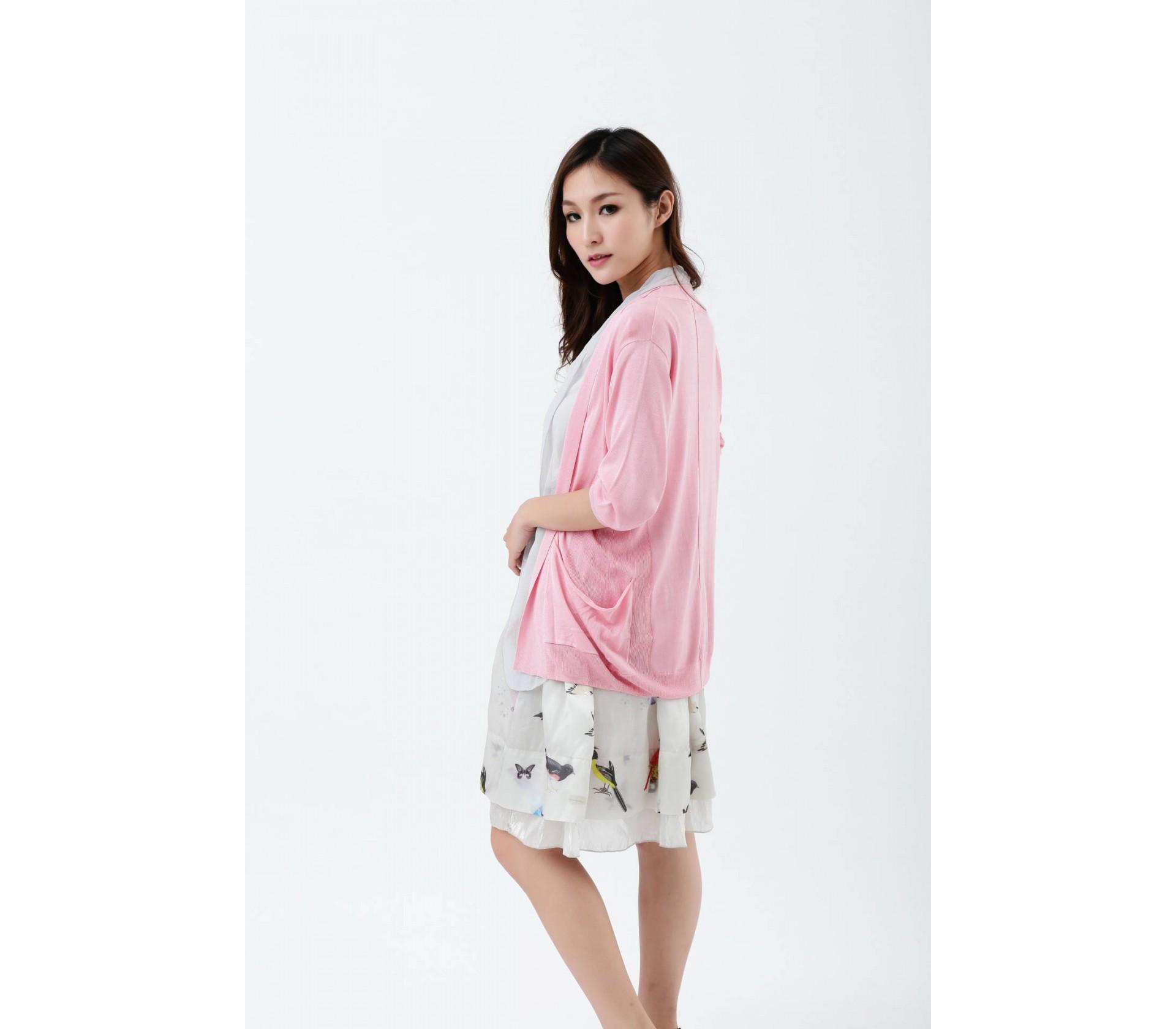 闕蘭絹100%蠶絲長版針織罩衫-615-(粉)