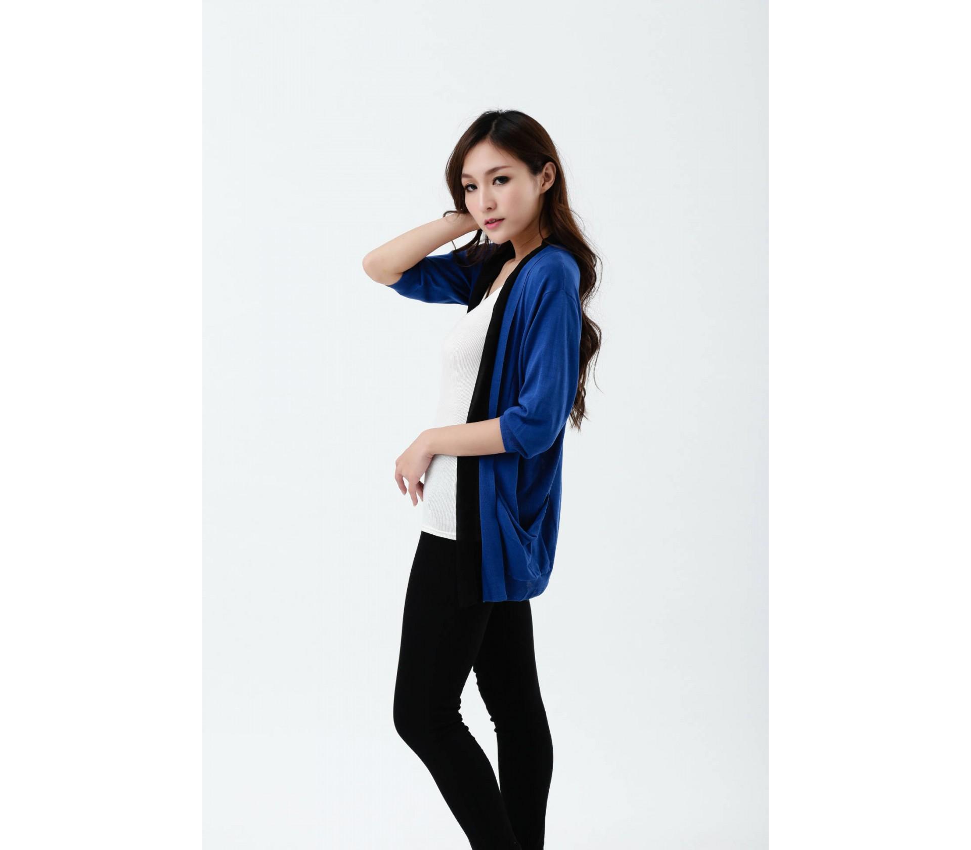 闕蘭絹100%蠶絲針織罩衫-615-(藍)