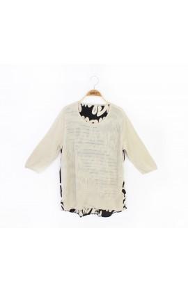 闕蘭絹100%蠶絲針織拼背面雙縐上衣-616(米)