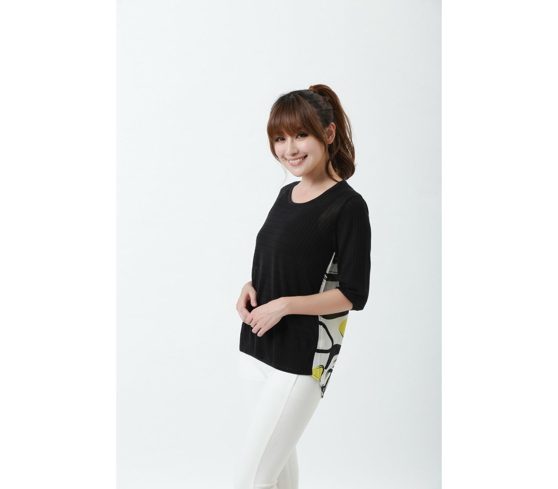闕蘭絹100%蠶絲針織拼背面雙縐上衣-616(黑)