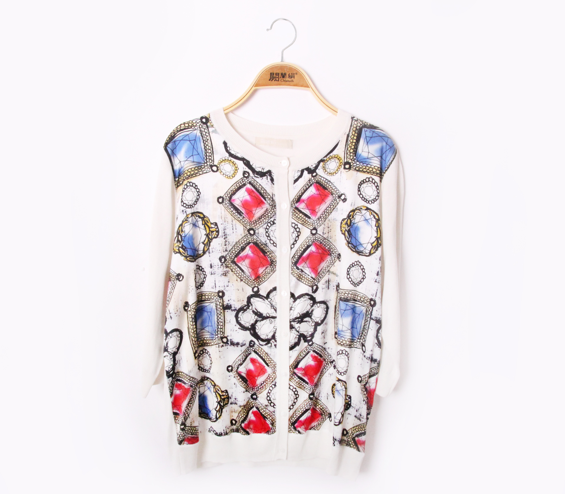拼接滑布寶石蠶絲針織外套 – 白 - 6617