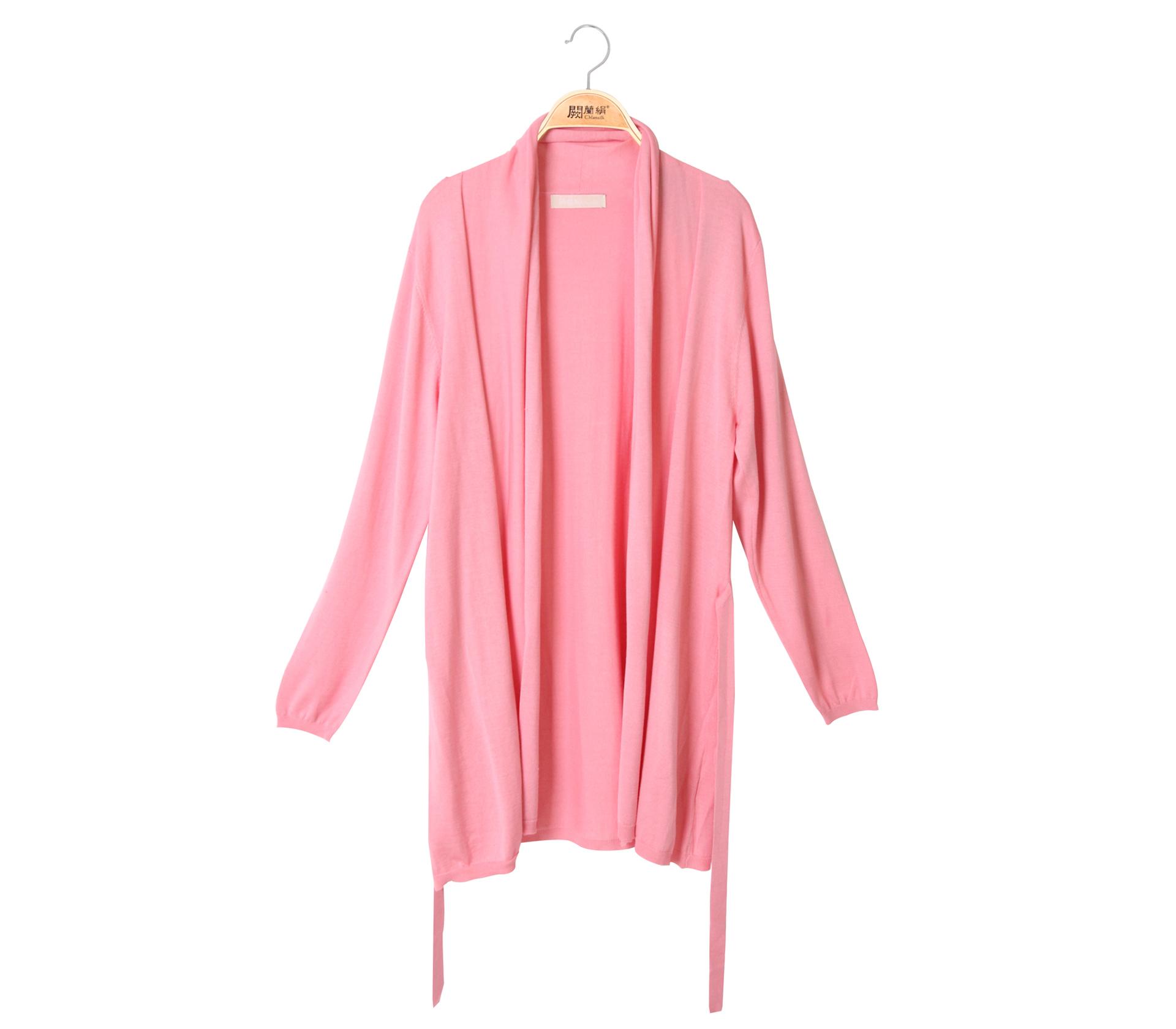 蠶絲針織罩衫綁帶外套 – 粉 - 6619