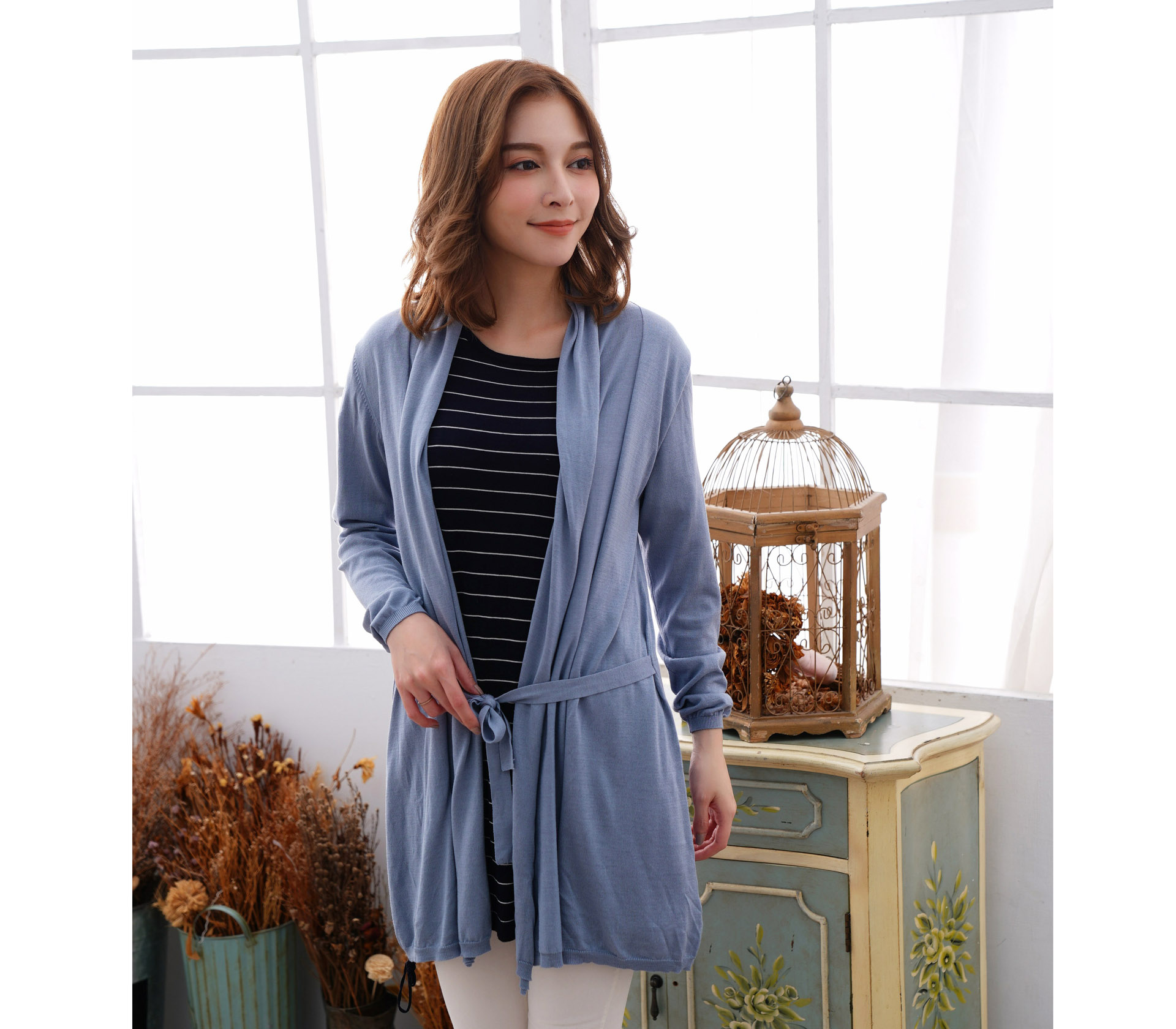 蠶絲針織罩衫綁帶外套 – 藍 - 6619