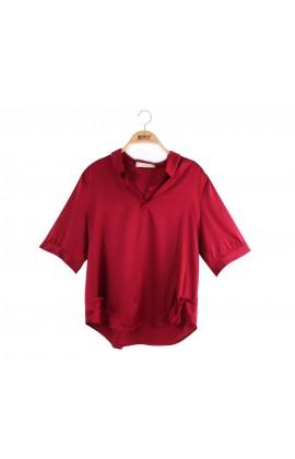 闕蘭絹簡約修身襯衫蠶絲上衣 - 酒紅- 6620