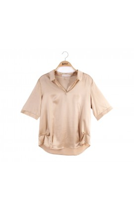 闕蘭絹簡約修身襯衫蠶絲上衣 - 金色- 6620