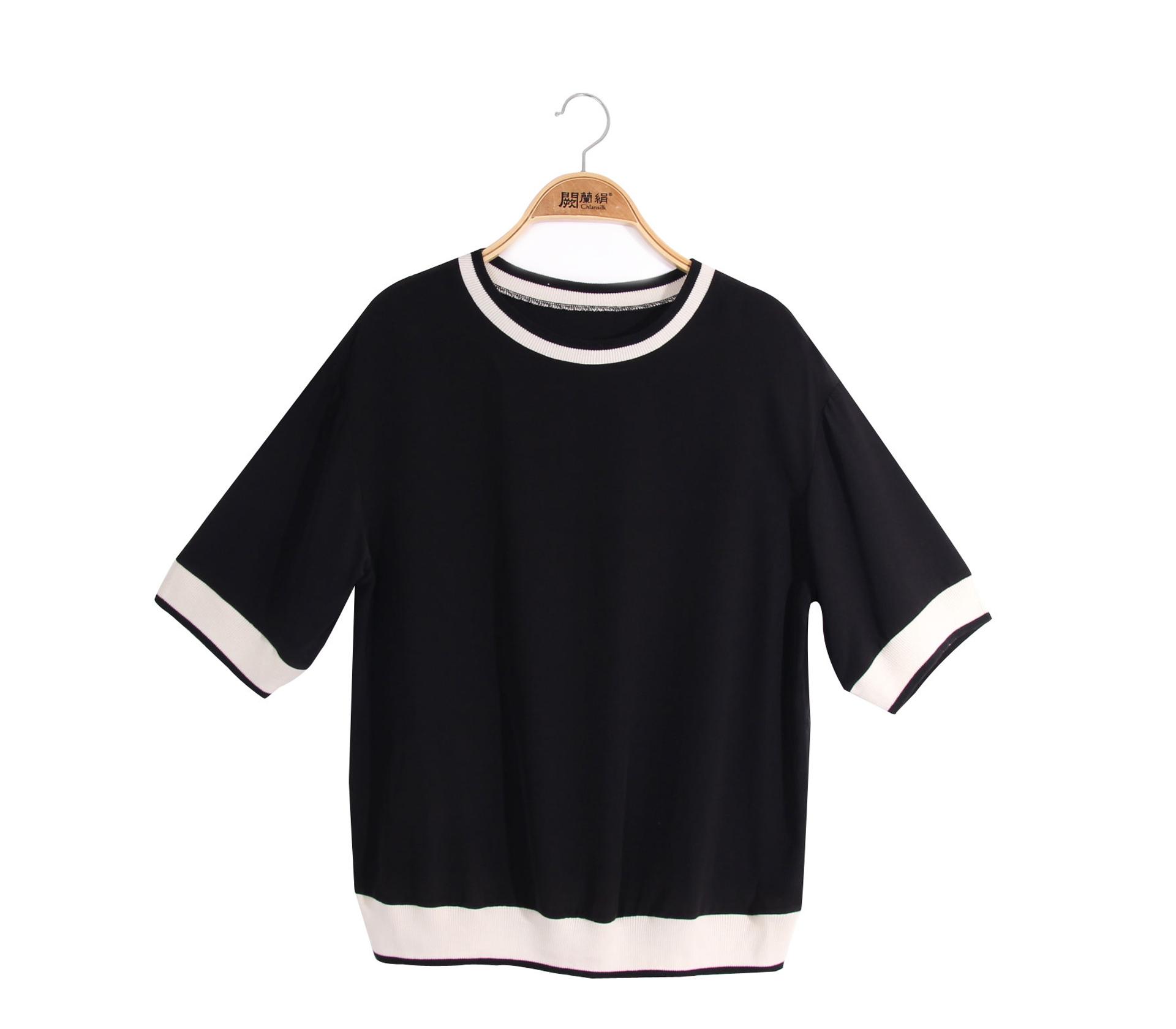 闕蘭絹素面滾白邊100%蠶絲上衣 - 黑色 - 6621