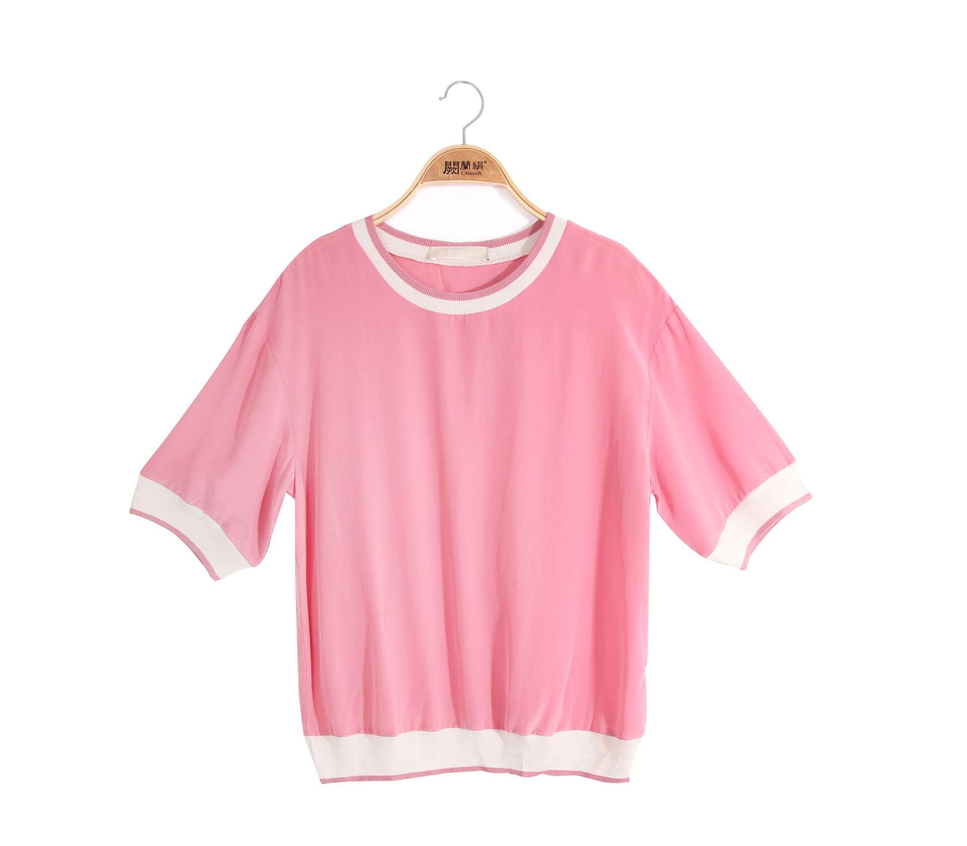 闕蘭絹素面滾白邊100%蠶絲上衣 - 粉色 - 6621