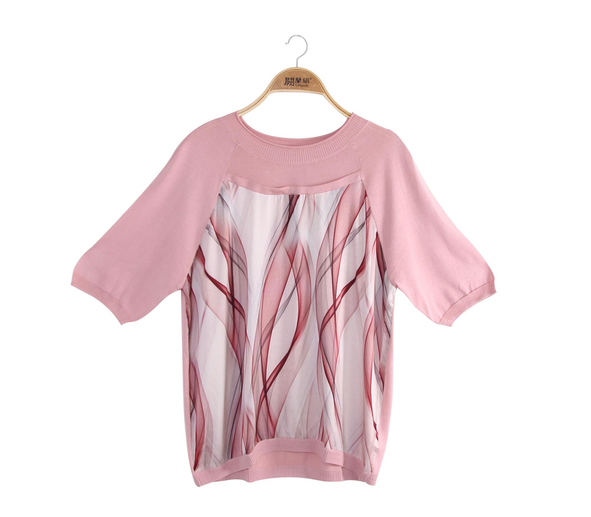 闕蘭絹拼接雪紡水波紋蠶絲針織上衣 - 粉色 - 6623