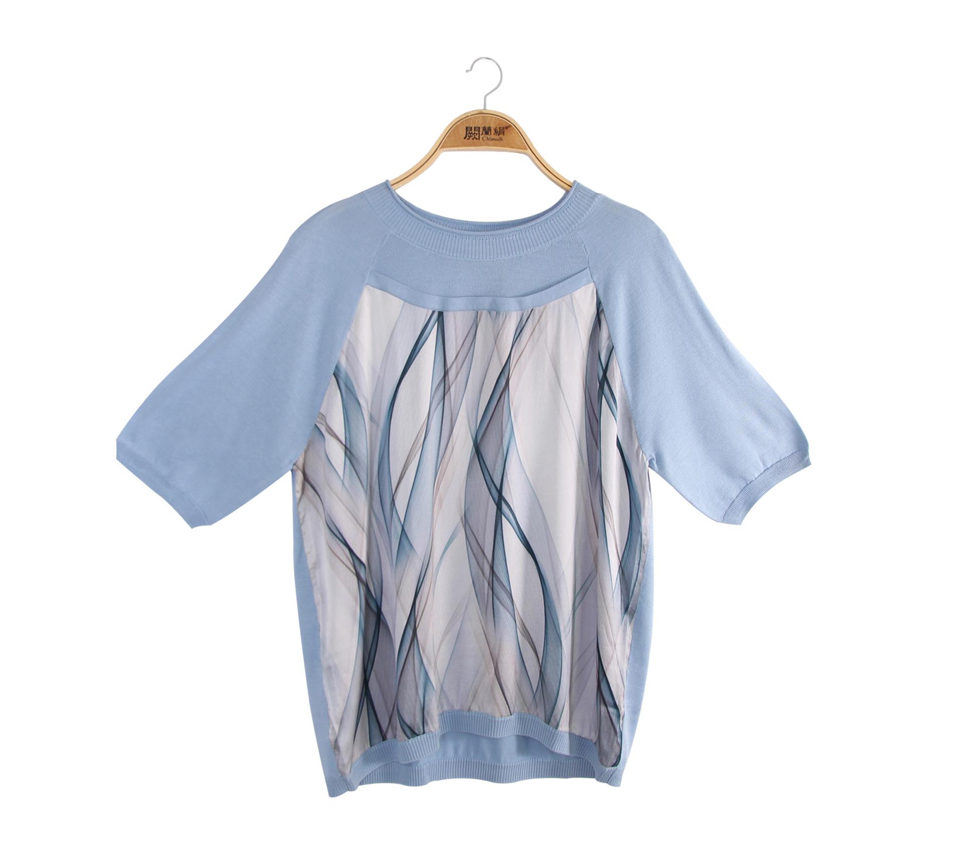 闕蘭絹拼接雪紡水波紋蠶絲針織上衣 - 藍色 - 6623