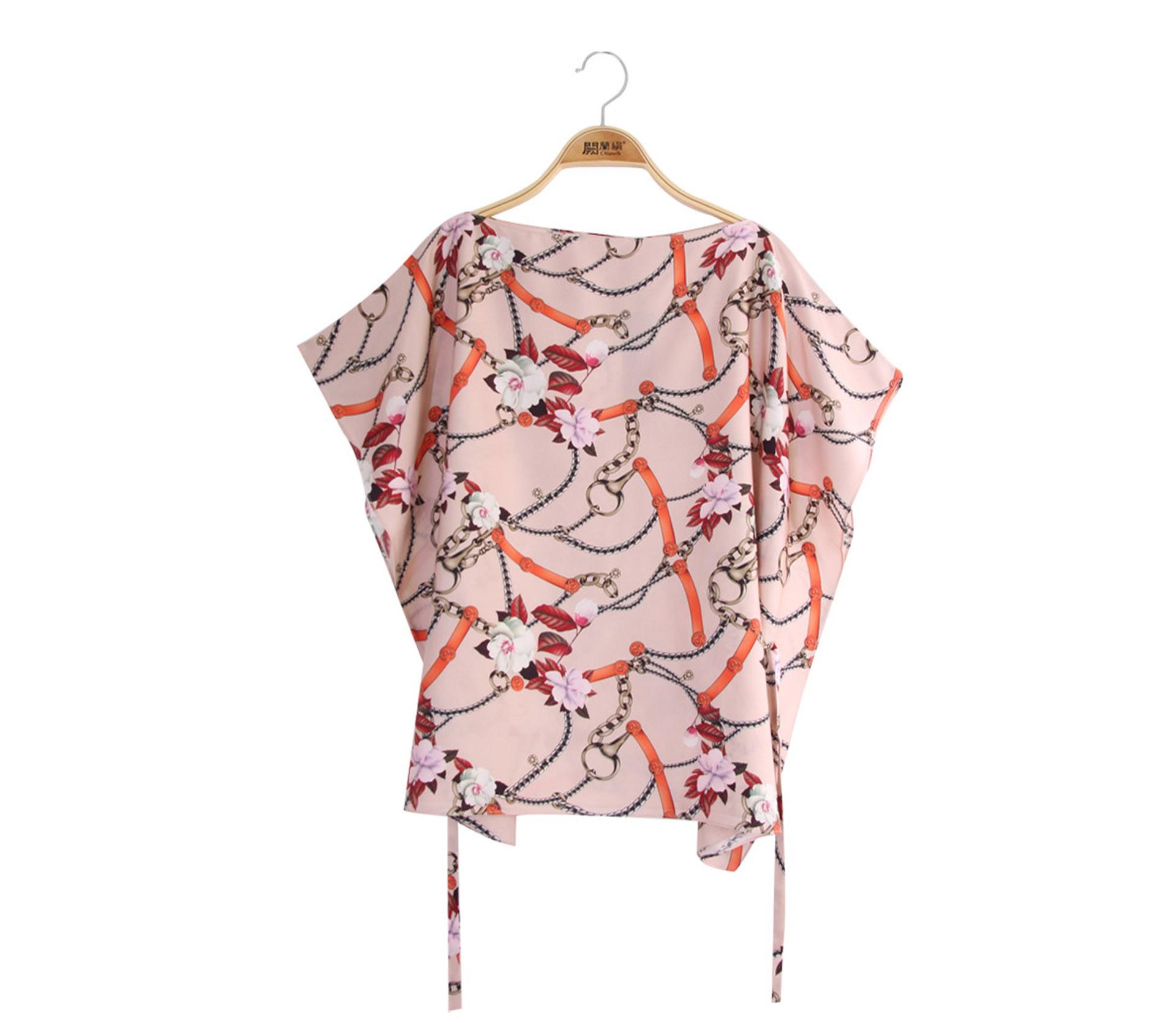 闕蘭絹典雅鎖鏈蠶絲緞面綁帶上衣 - 橘色 - 6625