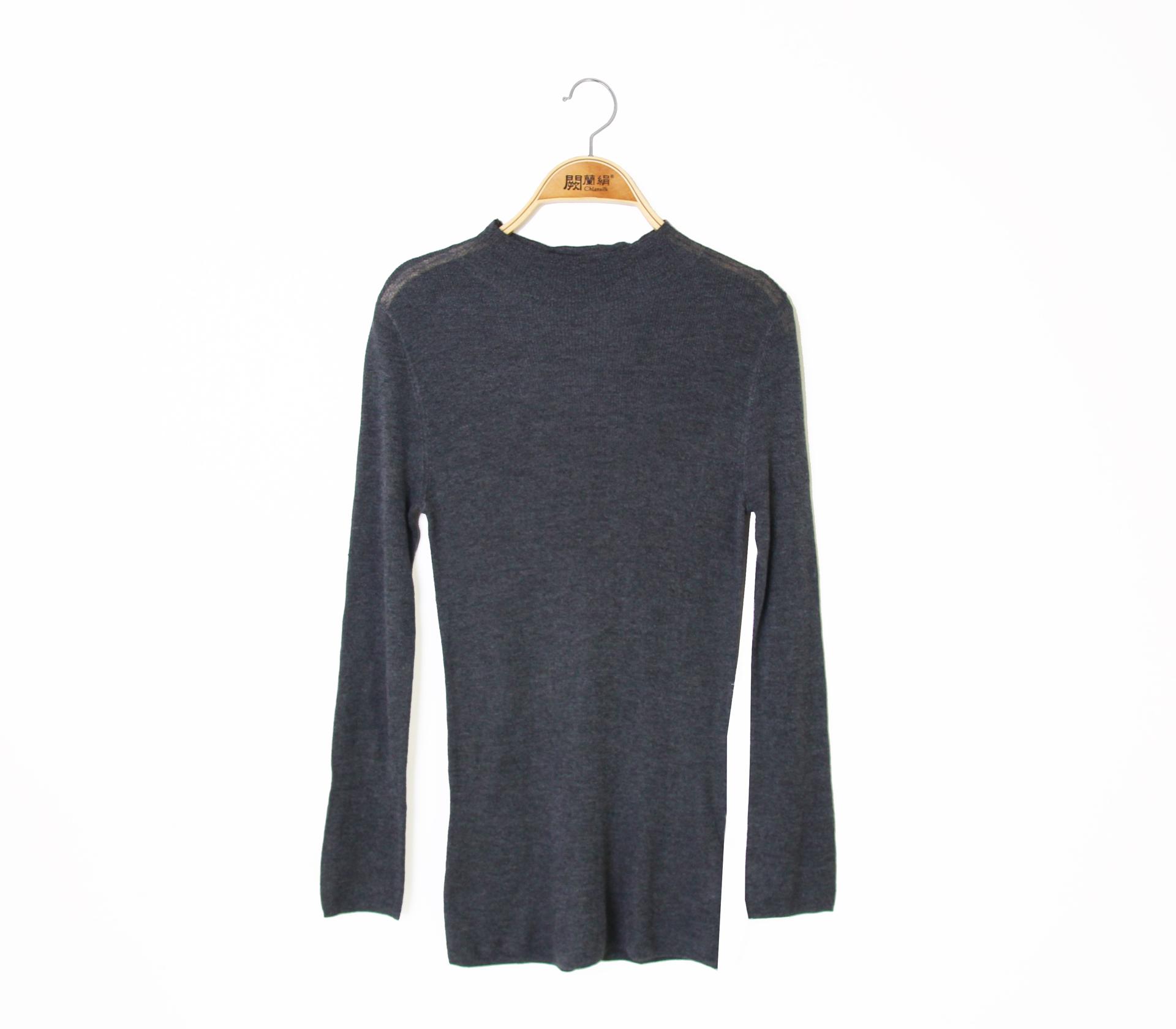 闕蘭絹修身百搭小高領蠶絲羊絨針織上衣 - 灰色 - 6626