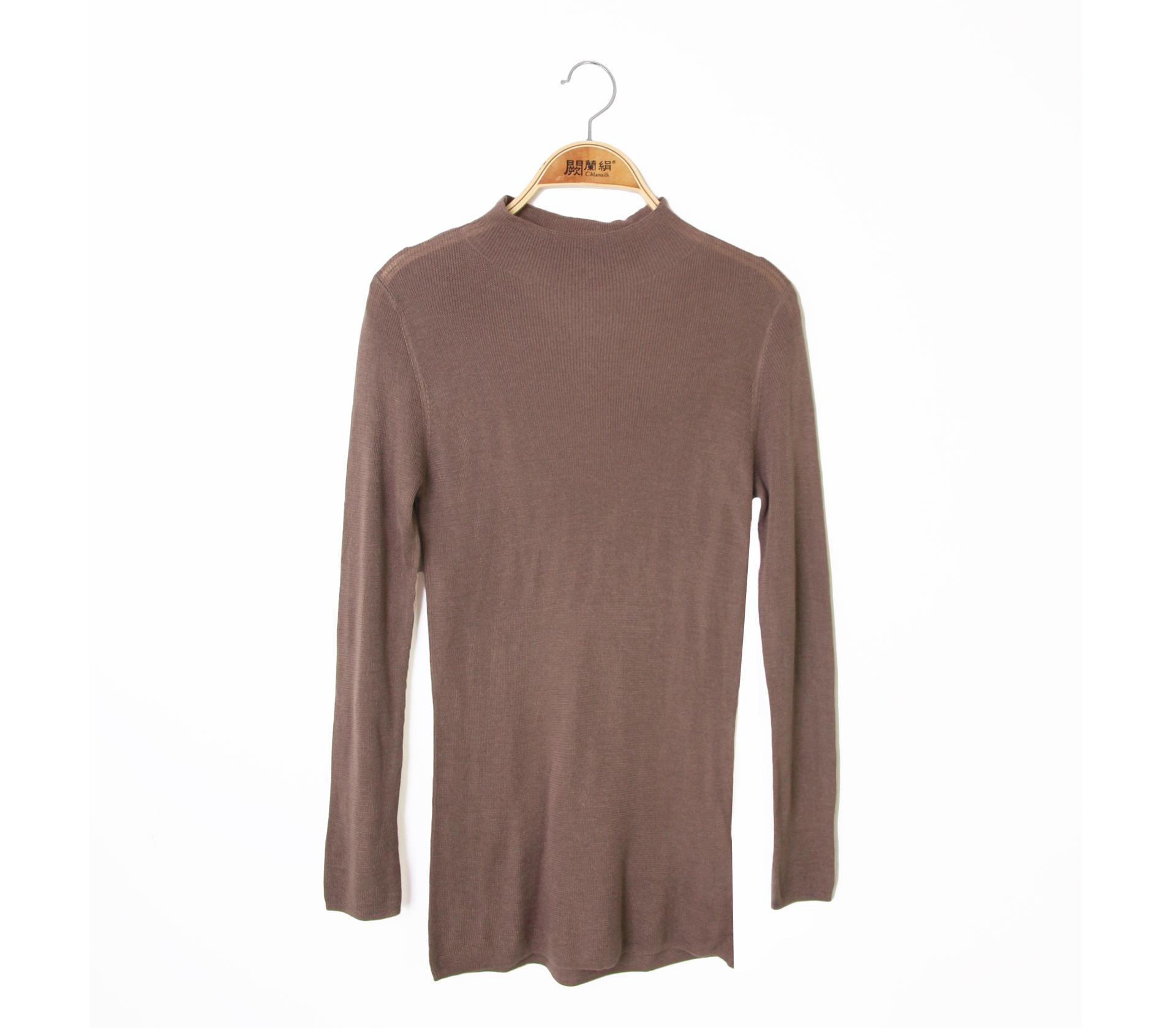 闕蘭絹修身百搭小高領蠶絲羊絨針織上衣 - 咖色 - 6626