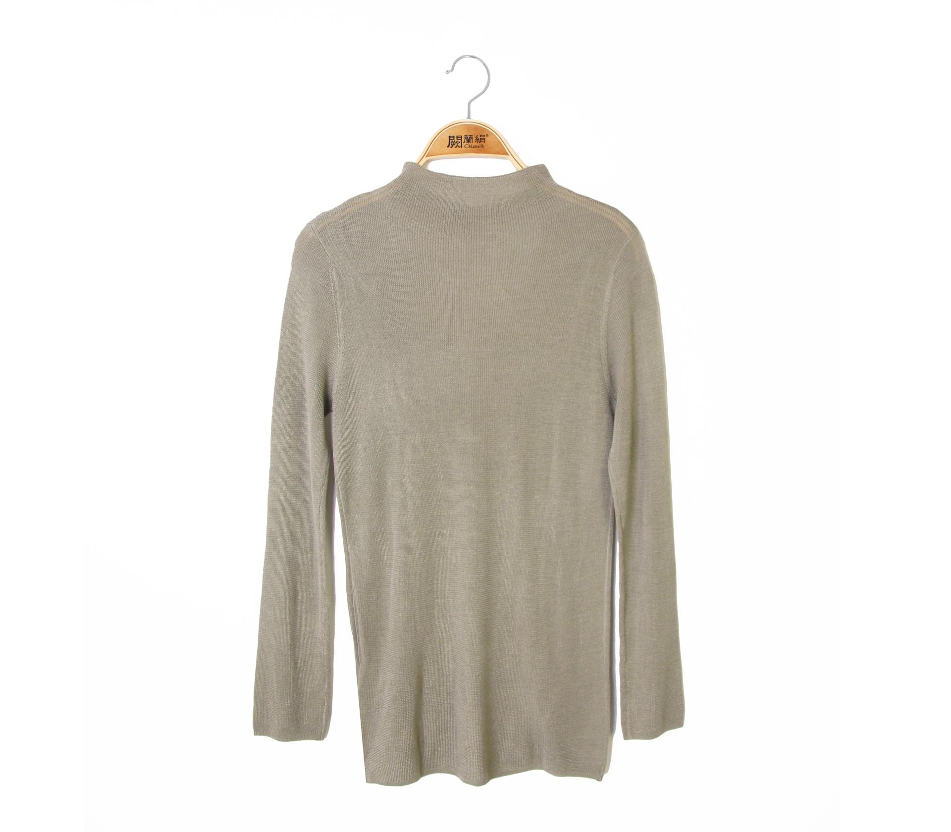 闕蘭絹修身百搭小高領蠶絲羊絨針織上衣 - 綠色 - 6626