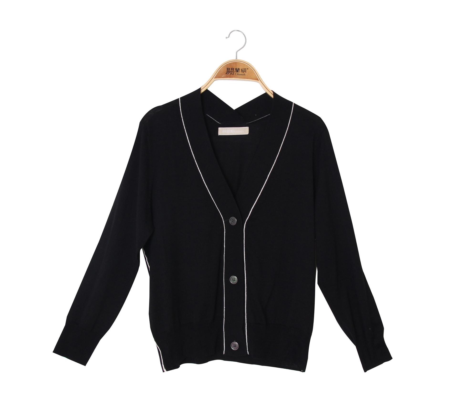 闕蘭絹V領針織100%蠶絲外套 - 黑色 - 6627