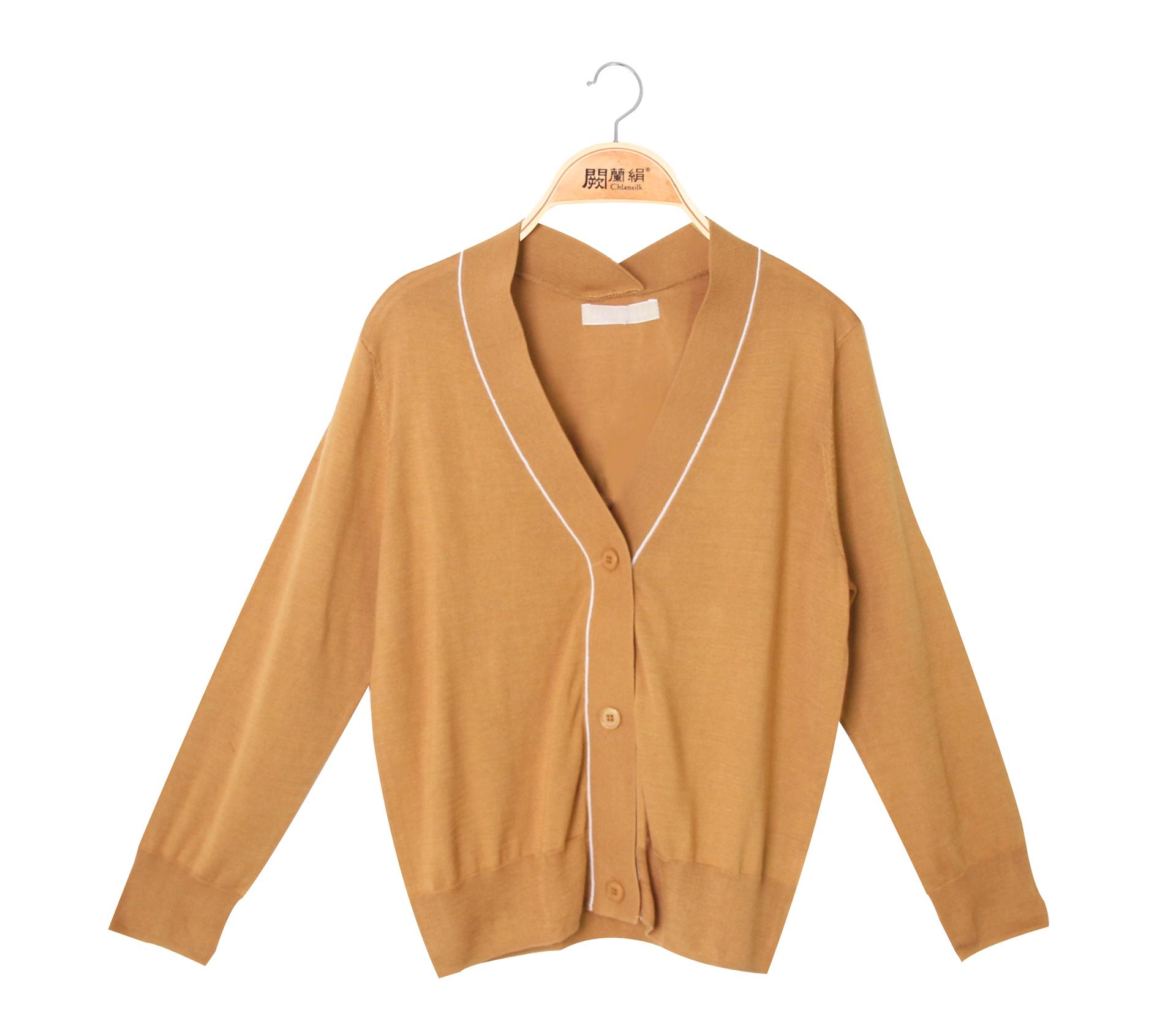 闕蘭絹V領針織100%蠶絲外套 - 駝色 - 6627