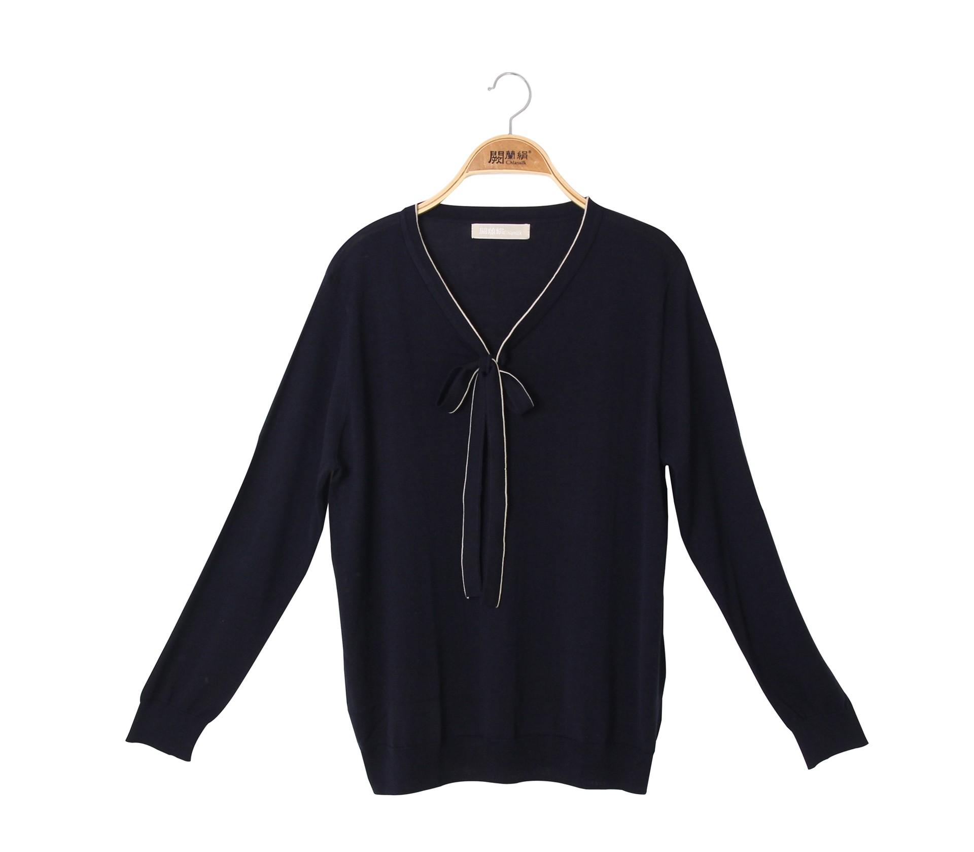 闕蘭絹溫雅氣質綁帶針織蠶絲長袖上衣 - 藍色 - 6628