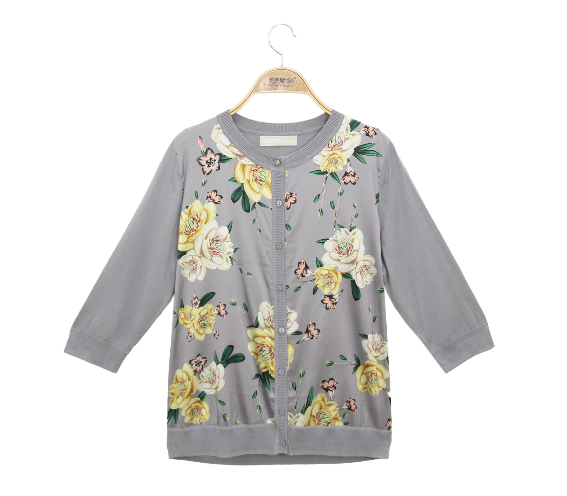 闕蘭絹拼接滑布鎖鏈花朵蠶絲針織外套 - 灰色 - 6631