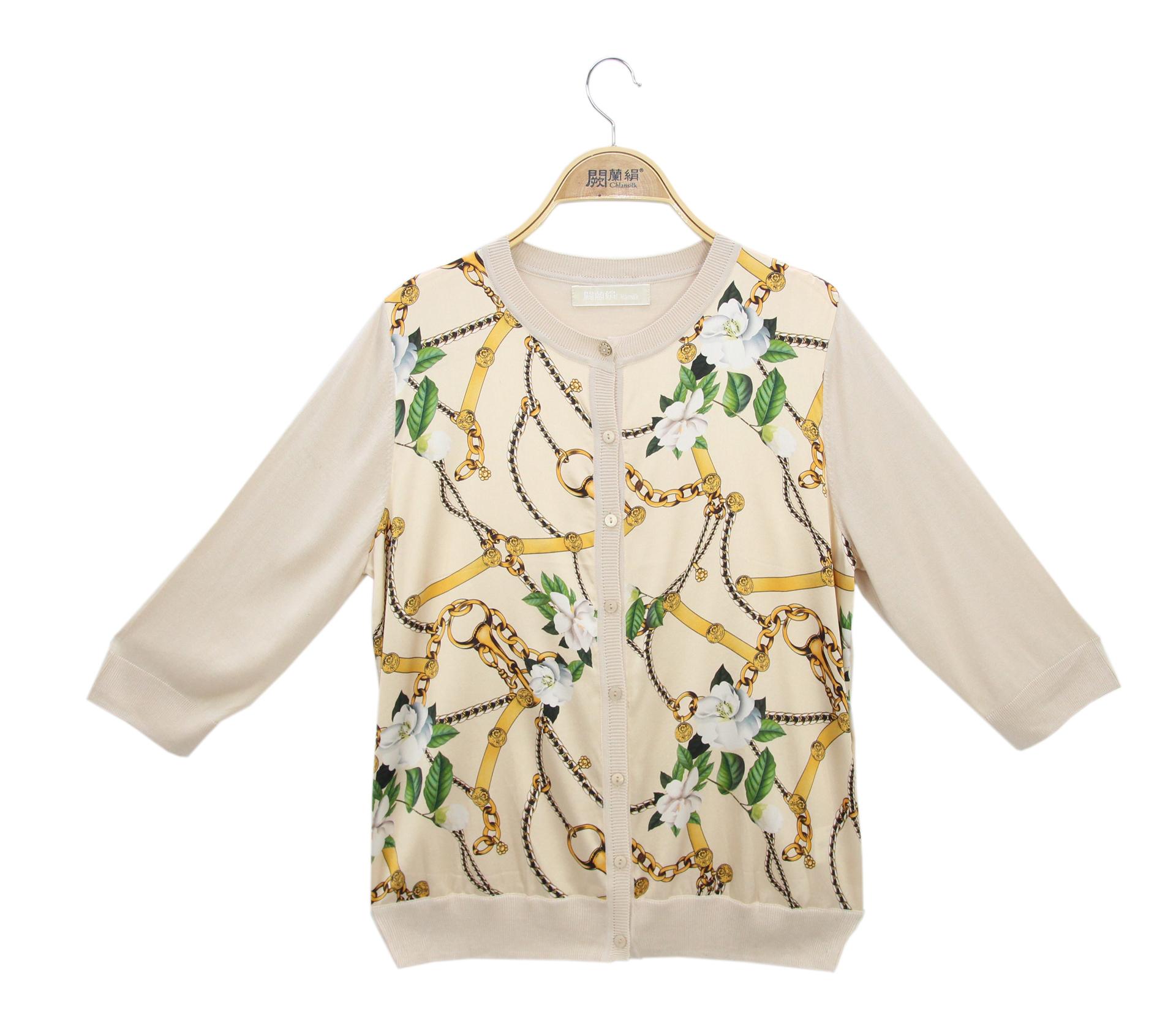 闕蘭絹拼接滑布鎖鏈花朵蠶絲針織外套 - 米色 - 6631