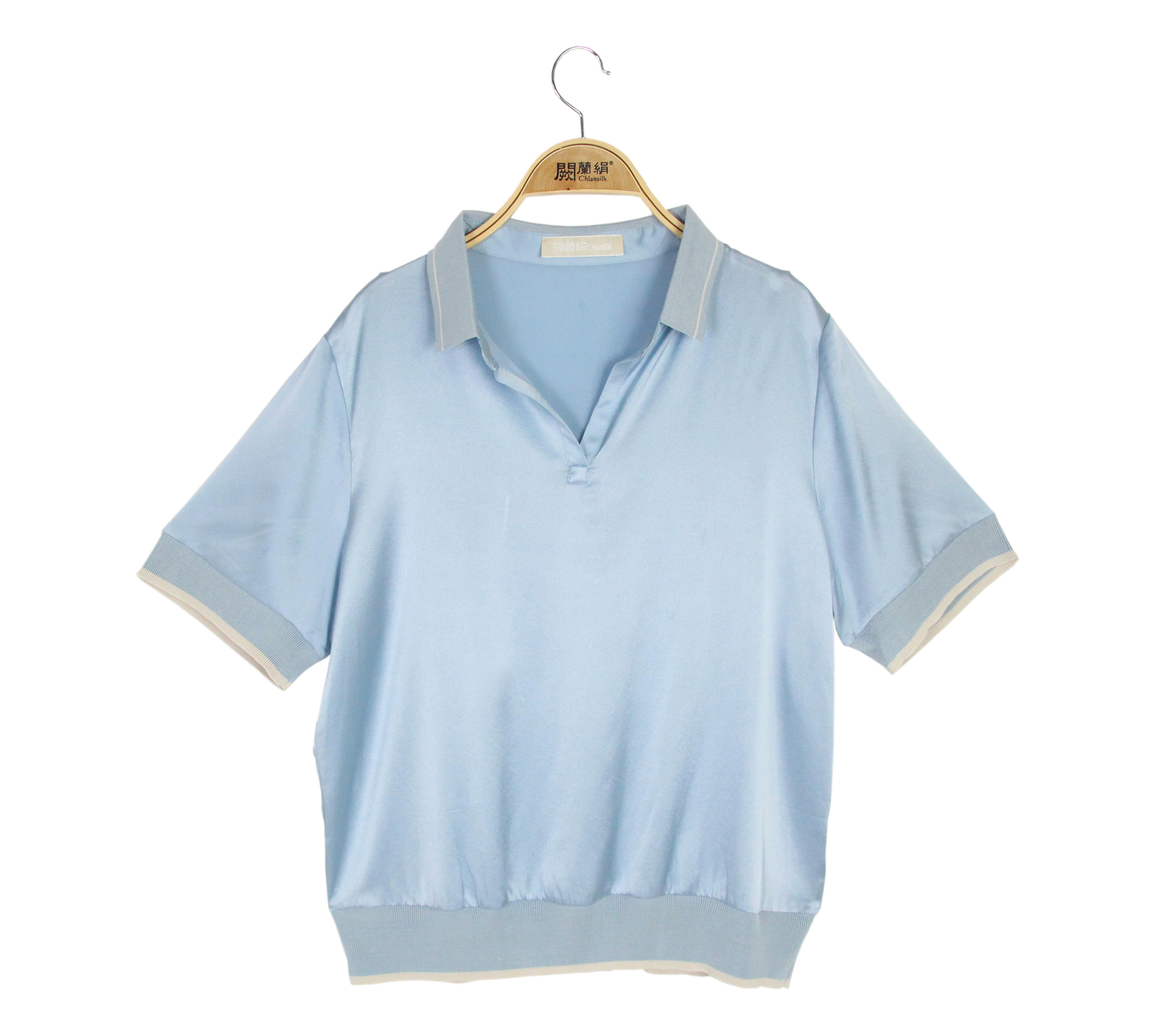闕蘭絹休閒典雅蠶絲緞面短袖POLO衫 - 藍色 - 6632