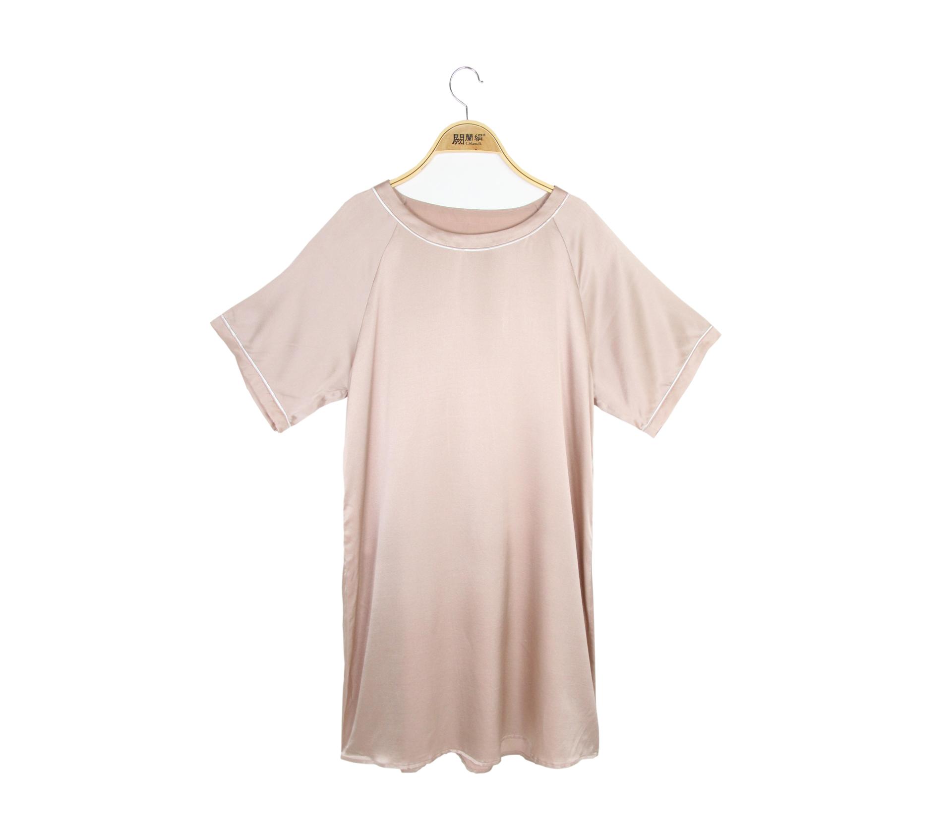 闕蘭絹輕柔舒適圓領蠶絲緞面洋裝 - 玫瑰金色 - 6633