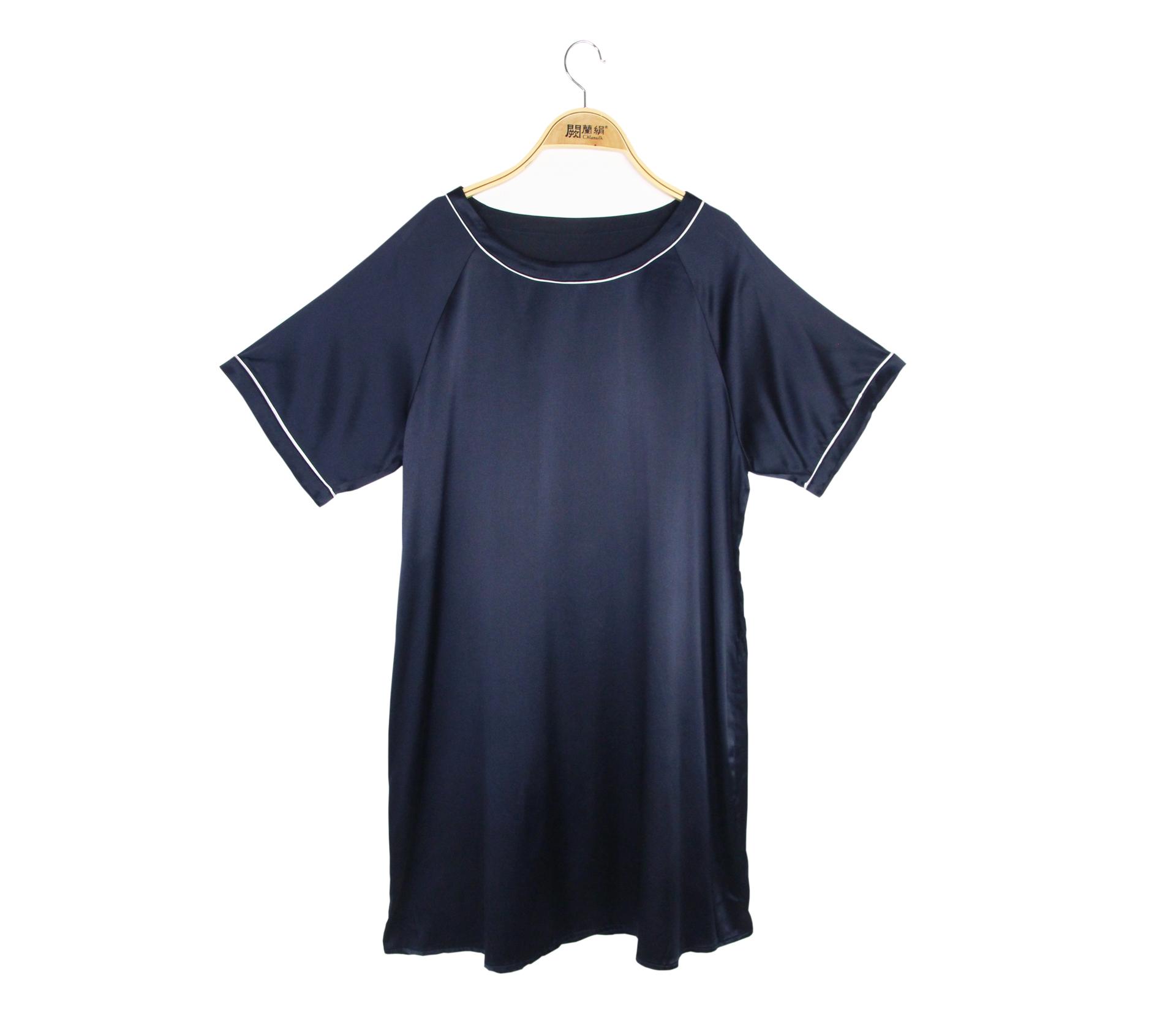 闕蘭絹輕柔舒適圓領蠶絲緞面洋裝 - 藍色 - 6633