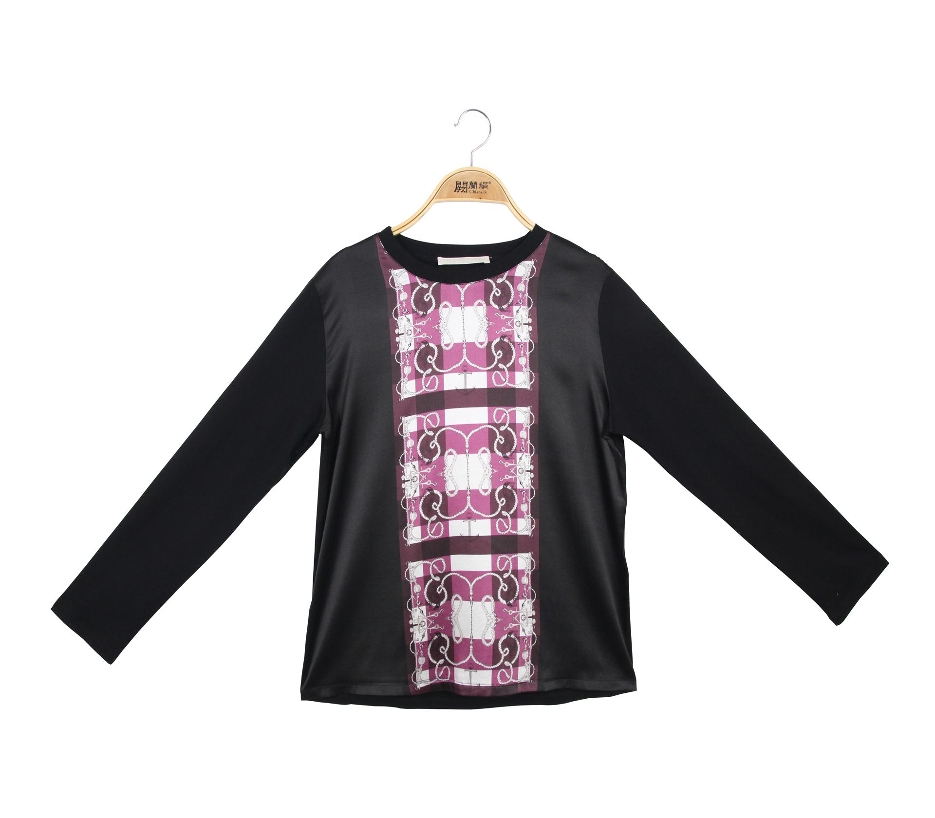闕蘭絹獨特造型圖紋蠶絲長袖上衣 - 黑色 - 6636